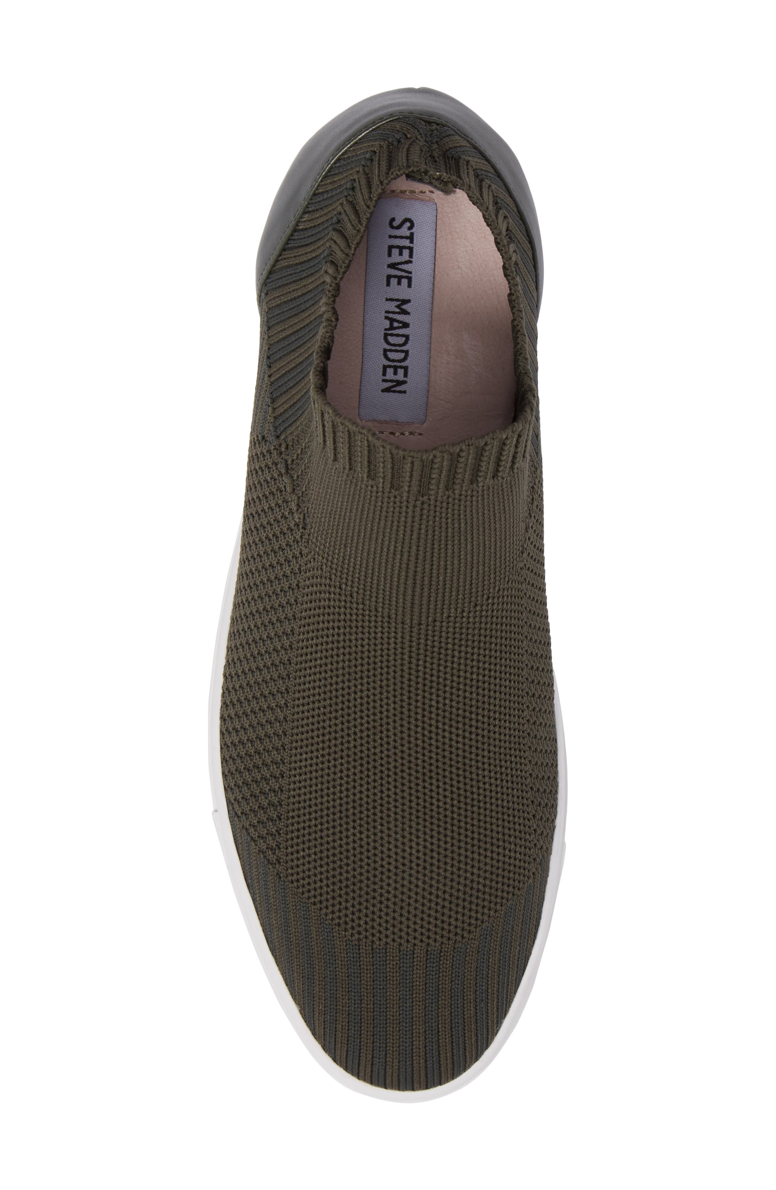 Sly Hidden Wedge Knit Sneaker,                             Alternate thumbnail 6, color,                             Olive Fabric