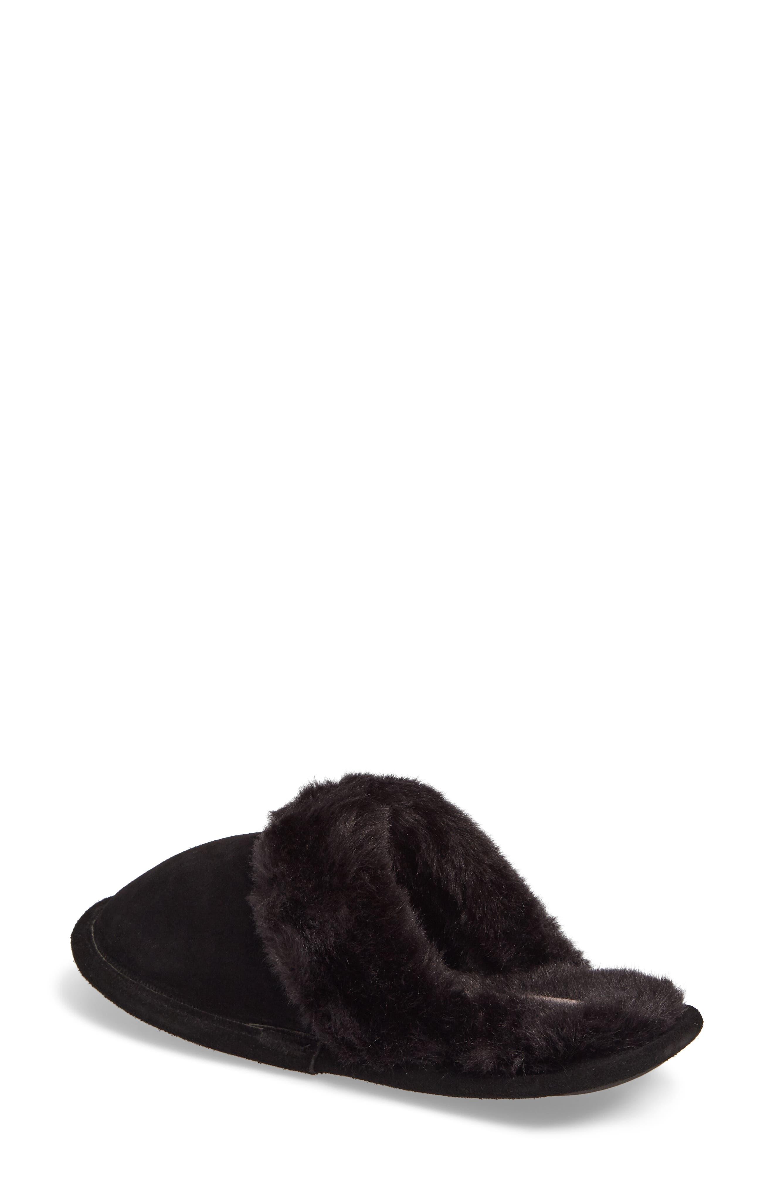 Pammy Faux Fur Slipper,                             Alternate thumbnail 2, color,                             Black Suede