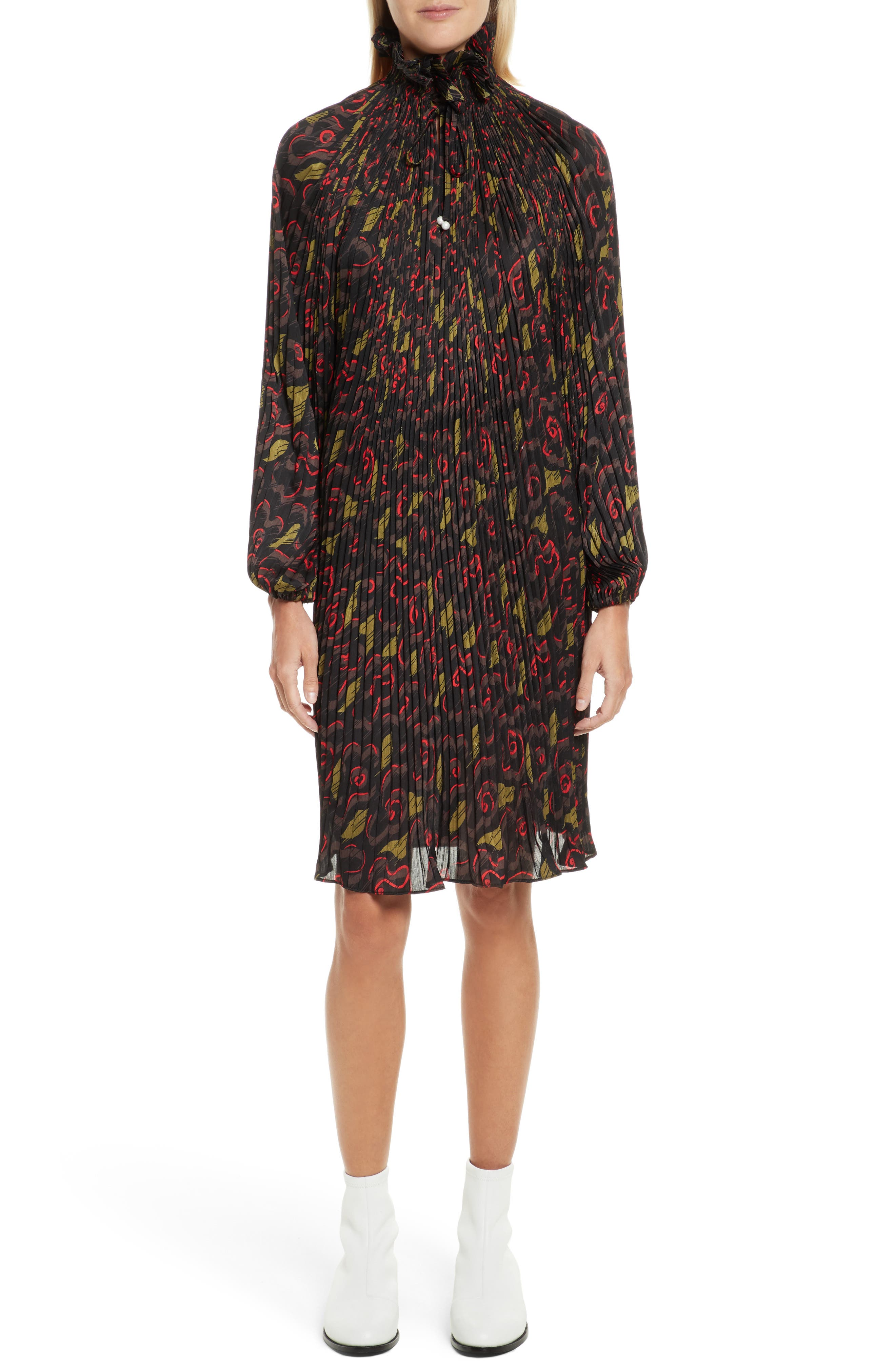 Pleated Floral Dress,                         Main,                         color, Jewel Red Multi