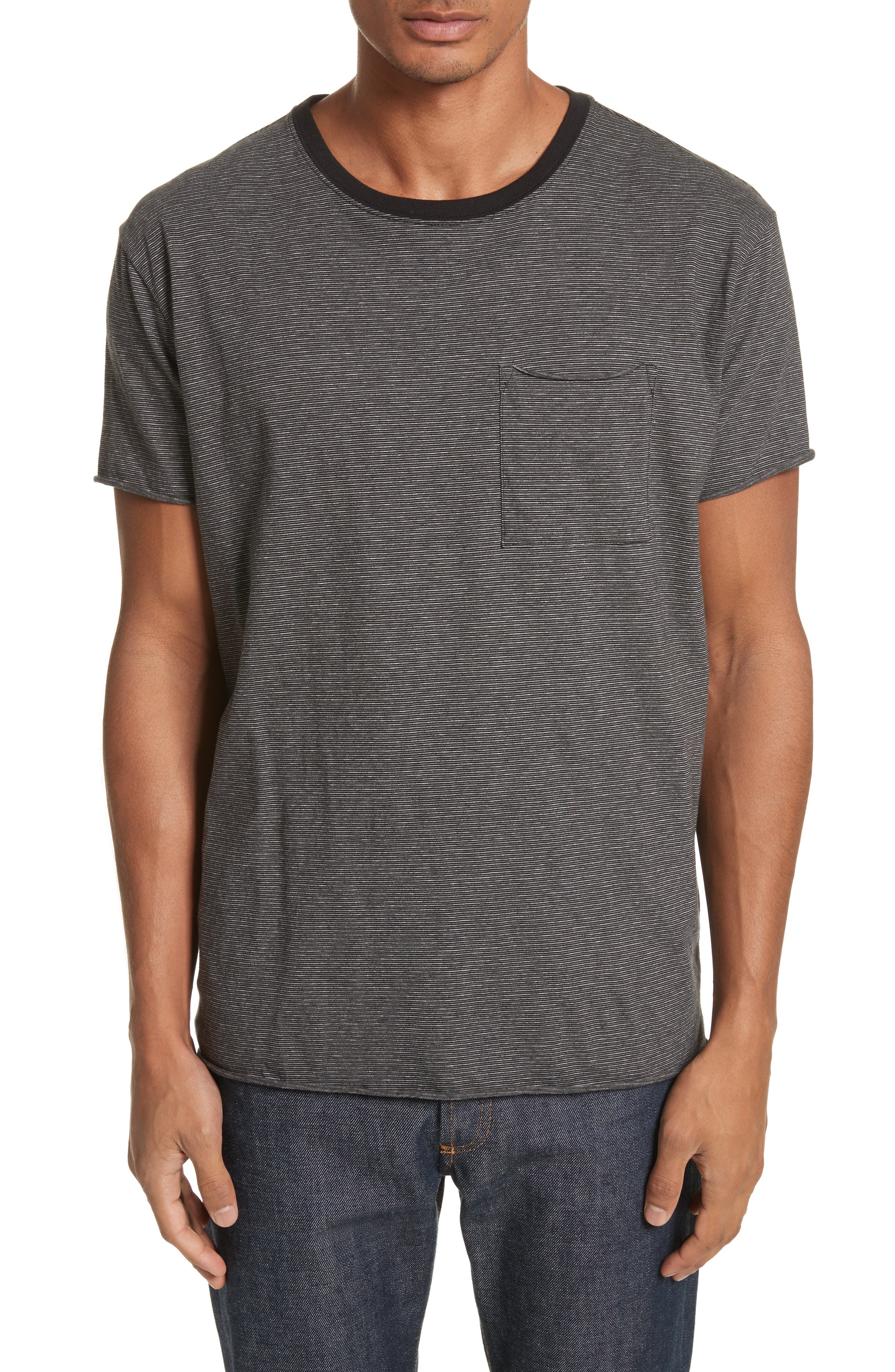 Oversize Stripe Pocket T-Shirt,                             Main thumbnail 1, color,                             Black