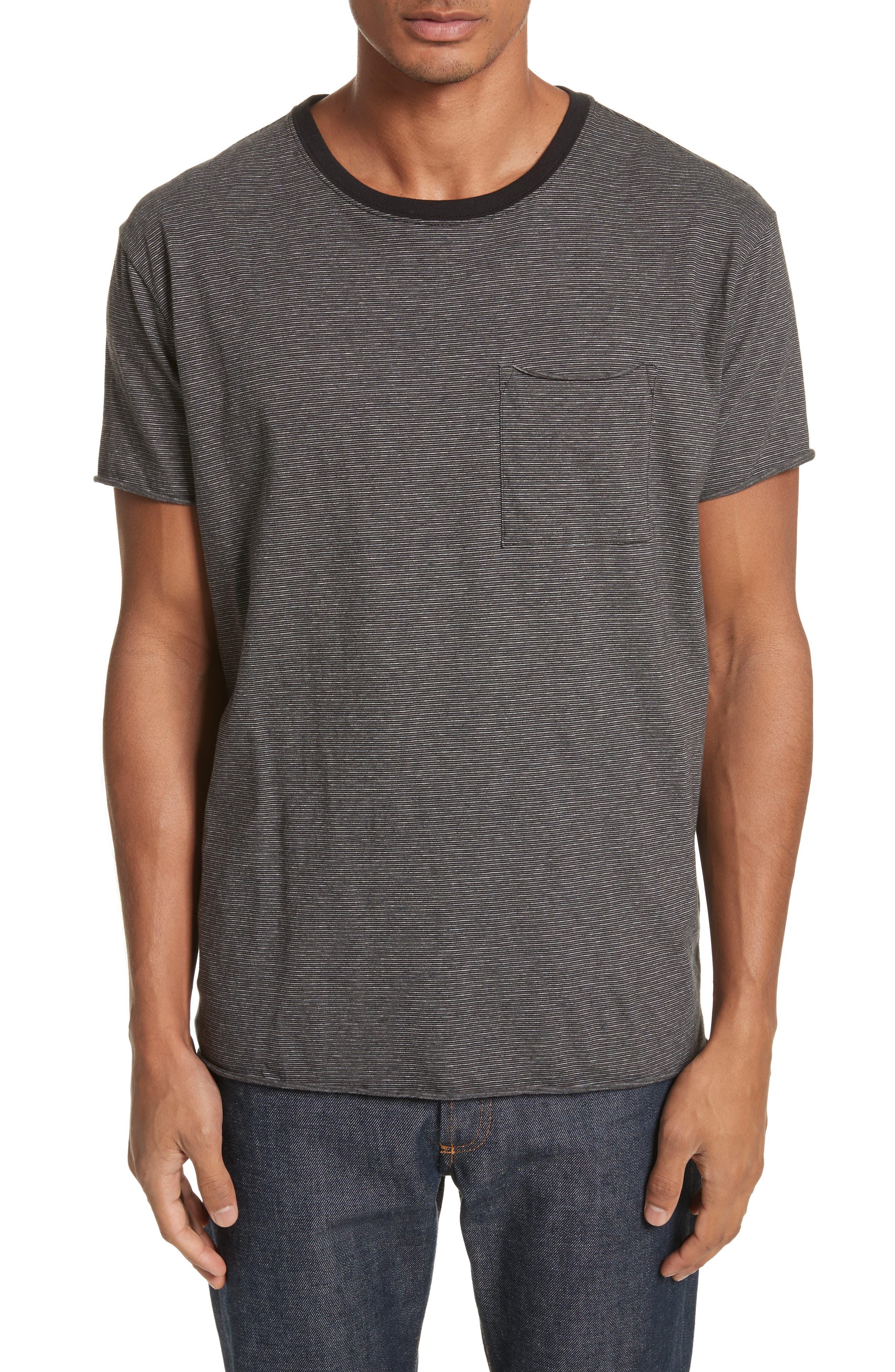 Oversize Stripe Pocket T-Shirt,                         Main,                         color, Black