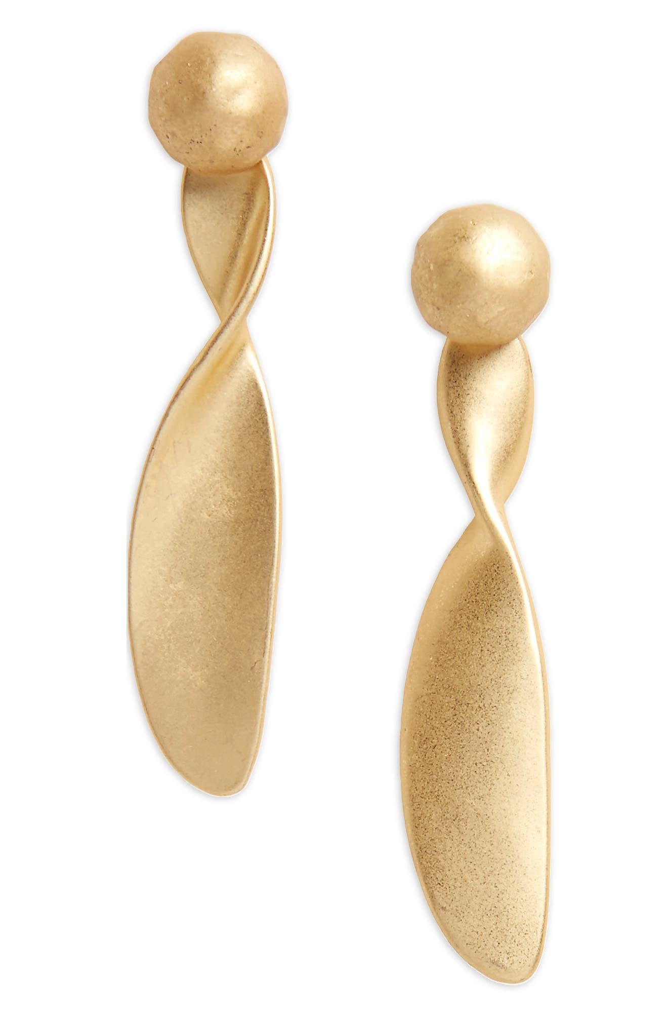 Twist Brushed Metal Drop Earrings,                             Main thumbnail 1, color,                             Worn Gold