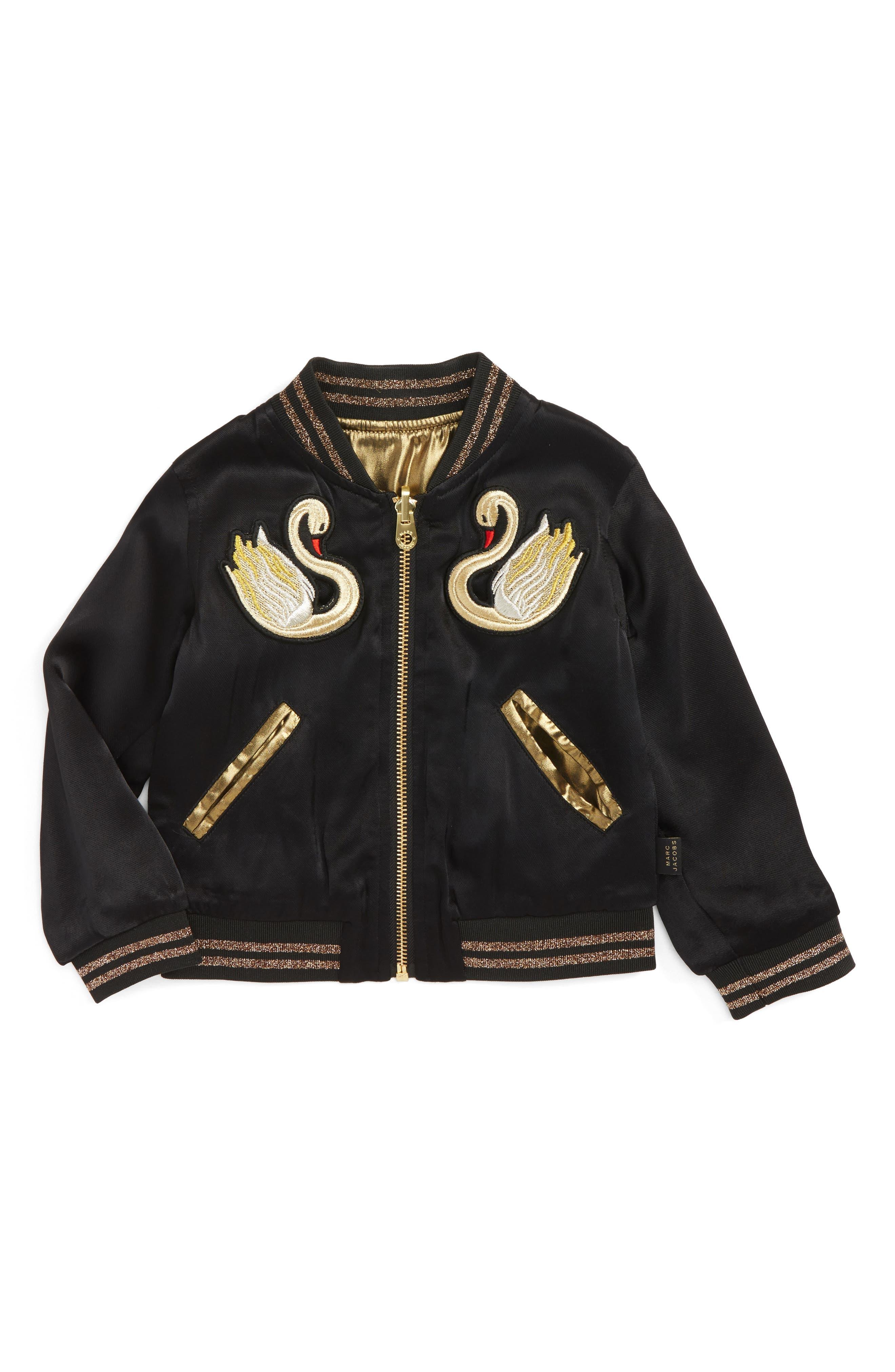 Reversible Swan & Star Bomber Jacket,                         Main,                         color, Black/ Gold