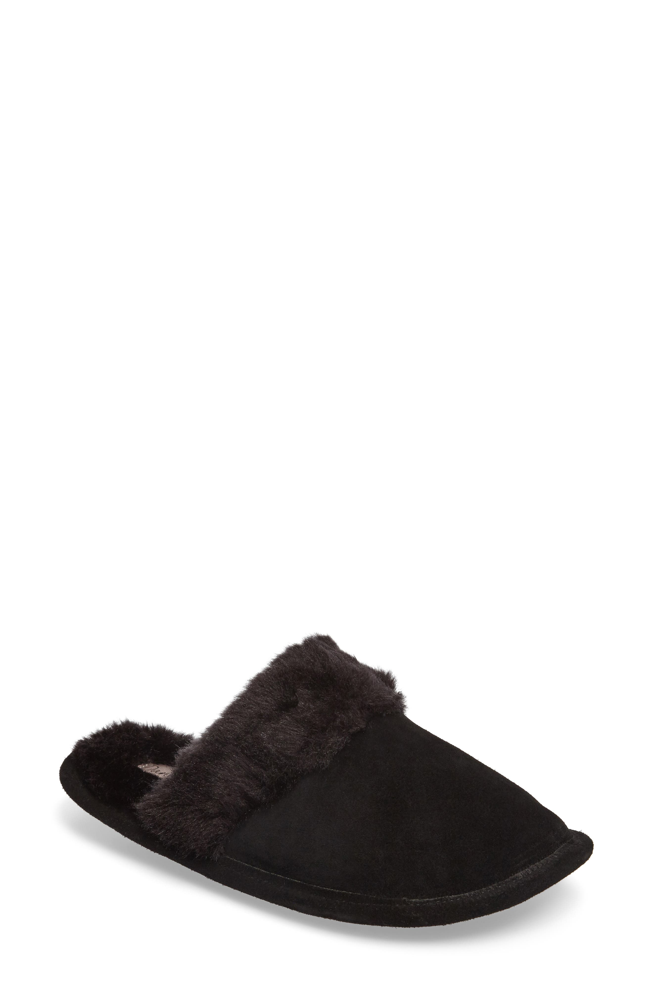 Pammy Faux Fur Slipper,                         Main,                         color, Black Suede