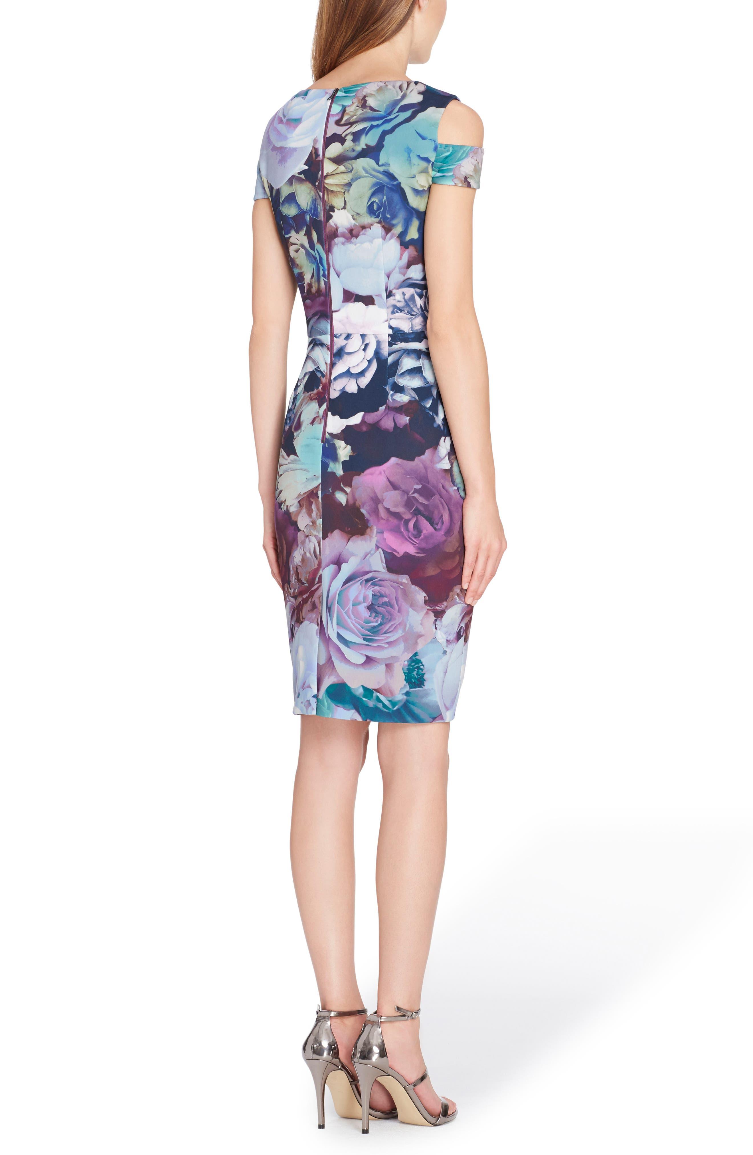 Cold Shoulder Sheath Dress,                             Alternate thumbnail 2, color,                             Navy/ Berry/ Sage
