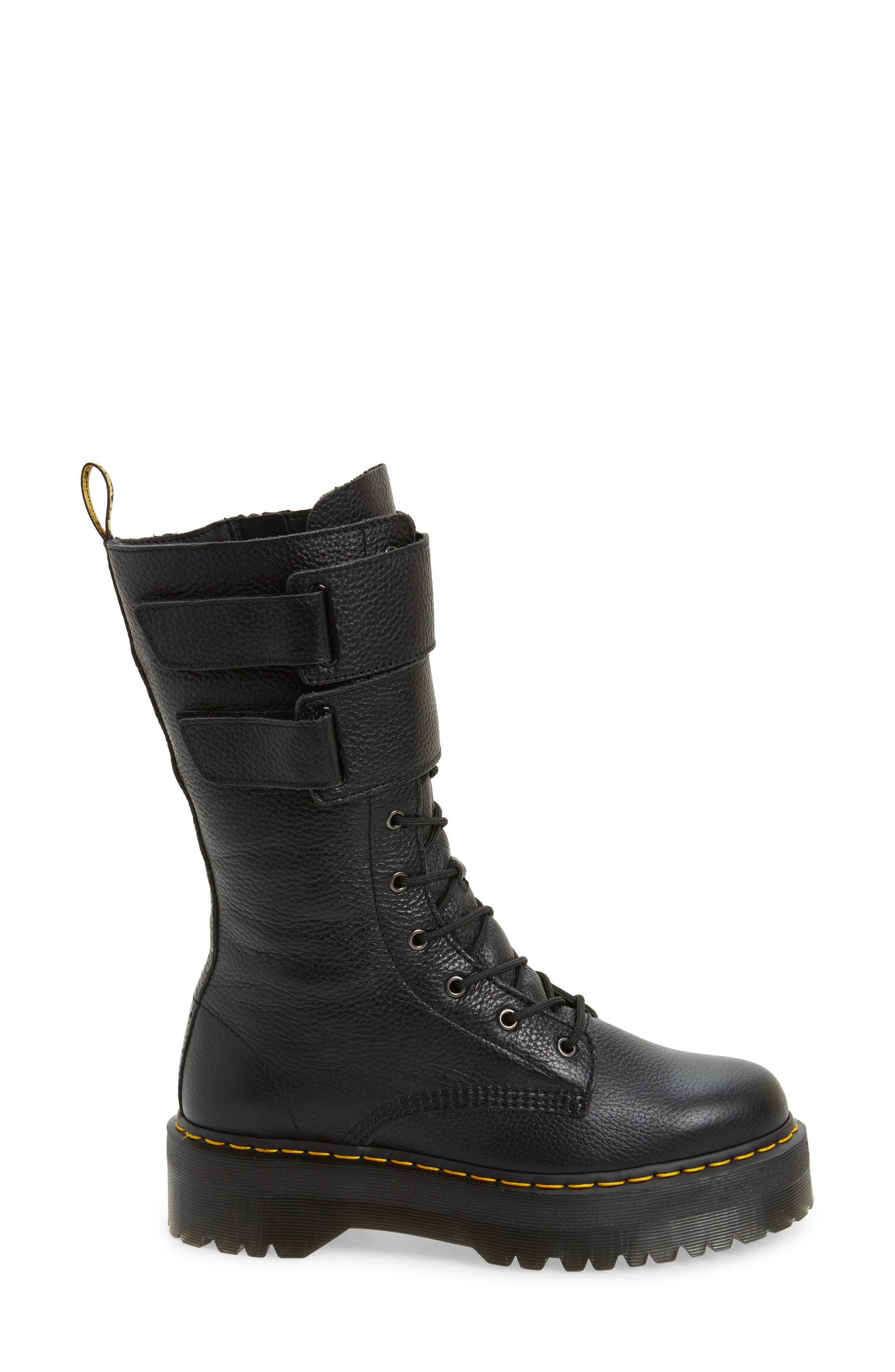 Jagger Combat Boot,                             Alternate thumbnail 3, color,                             Black Leather