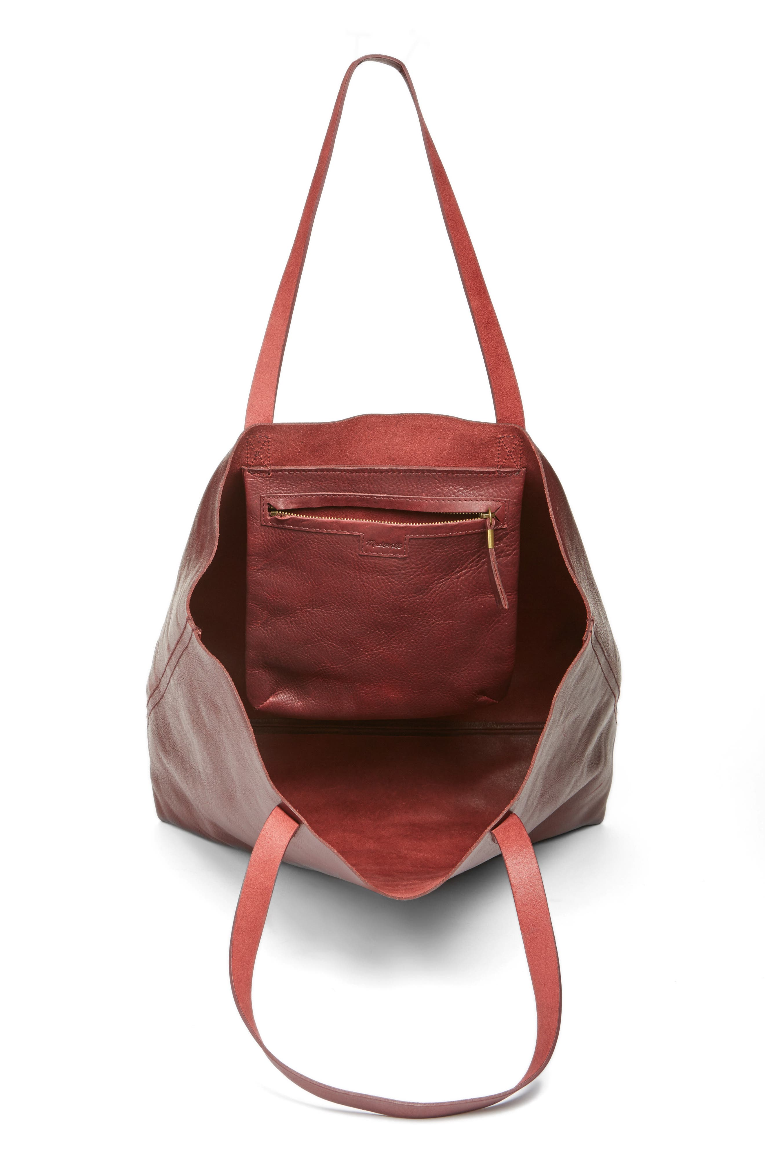 Transport Leather Tote,                             Alternate thumbnail 4, color,                             Dark Cocoa
