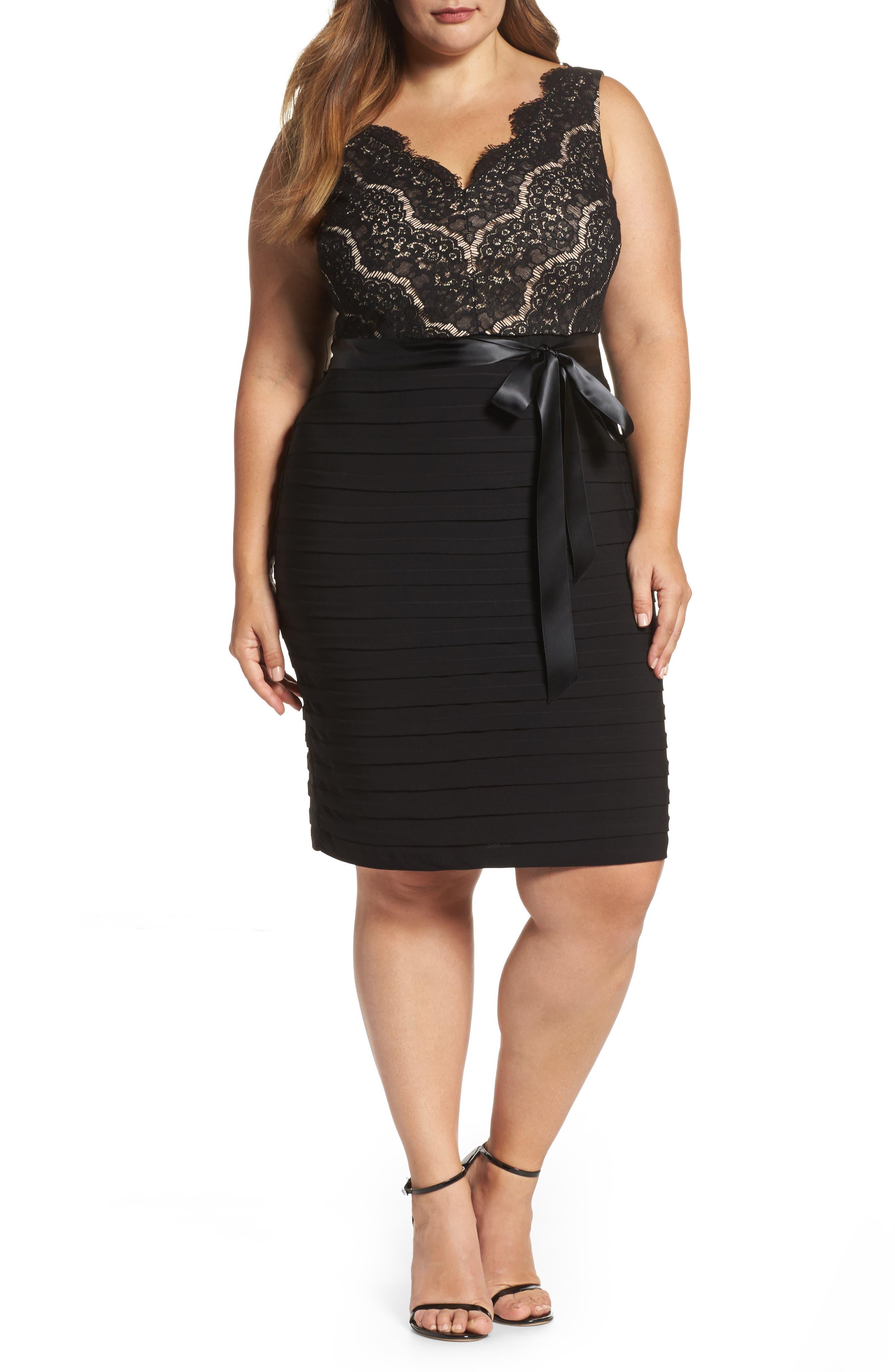 Marina Lace & Pleat Jersey Sheath Dress (Plus Size)