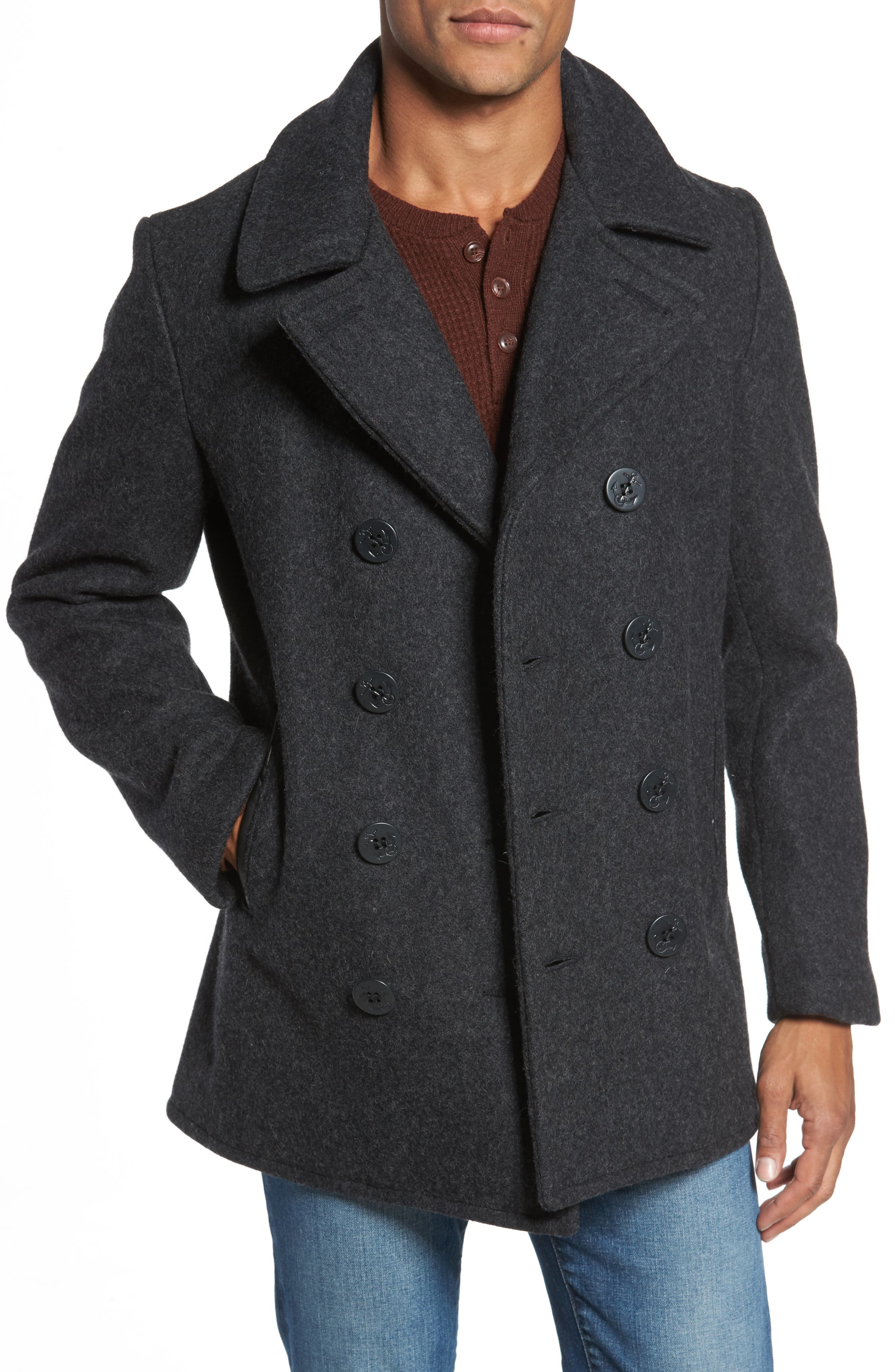 Slim Fit Melton Wool Blend Peacoat,                         Main,                         color, Dark Oxford