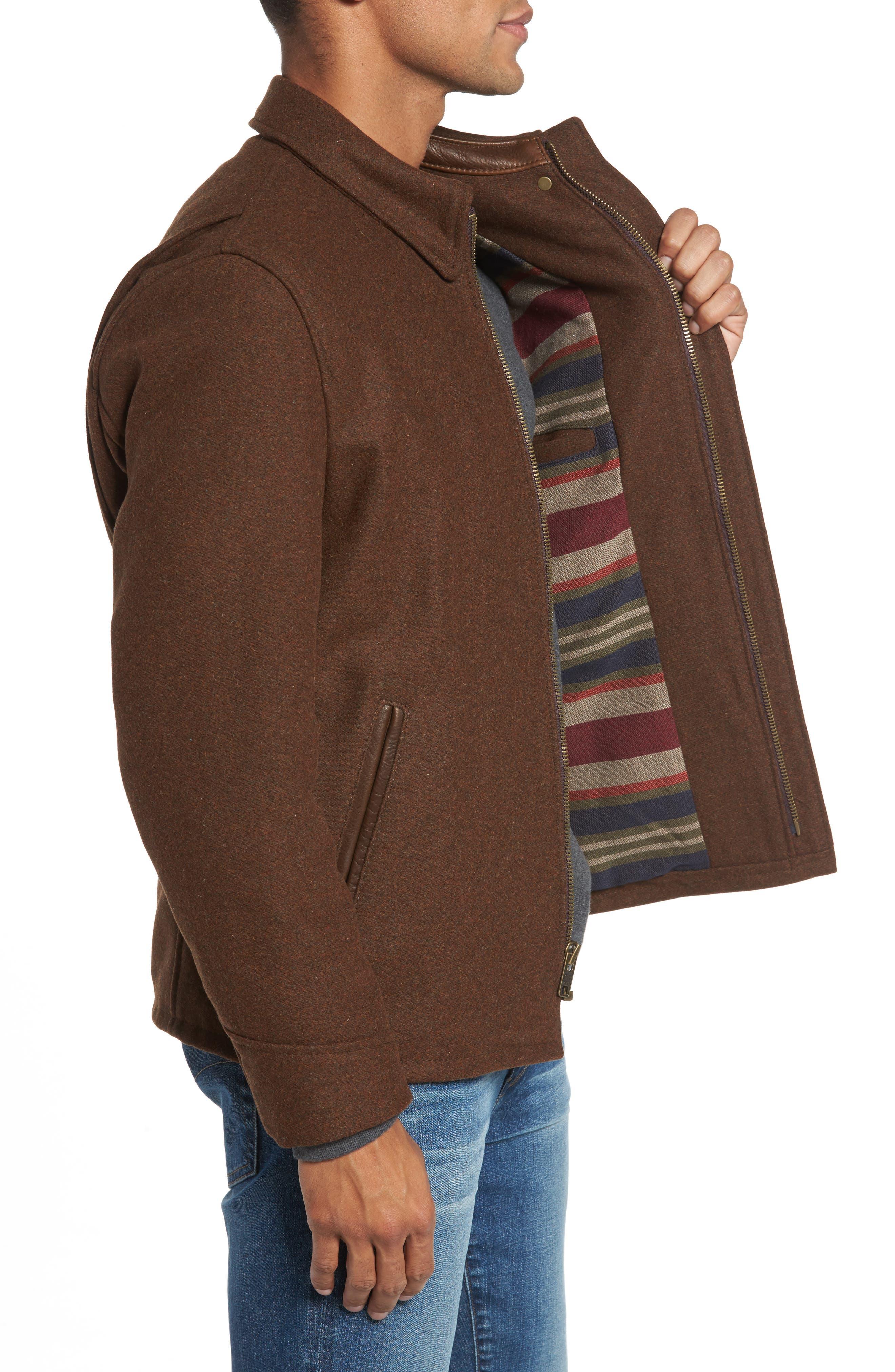 Liberty Wool Blend Zip Front Jacket,                             Alternate thumbnail 3, color,                             Brown