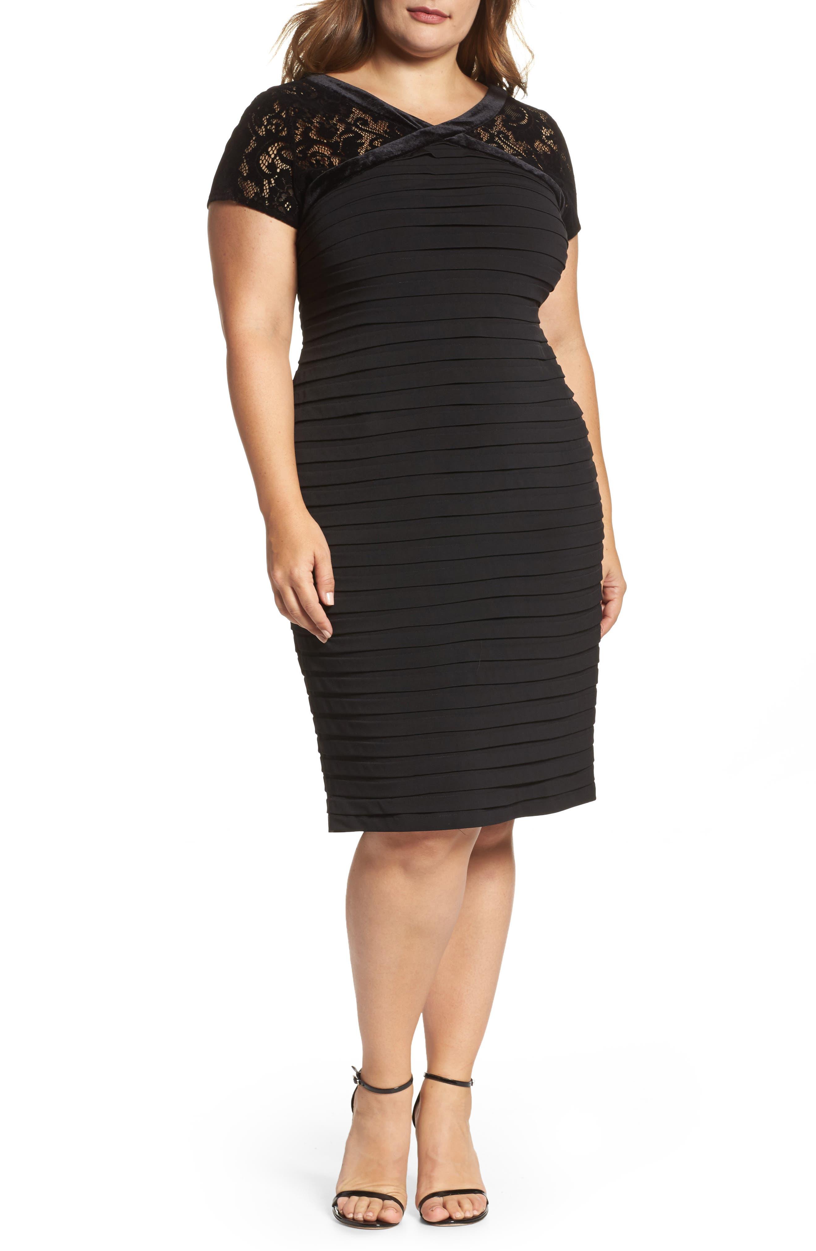 Main Image - London Times Velvet Trim Sheath Dress (Plus Size)