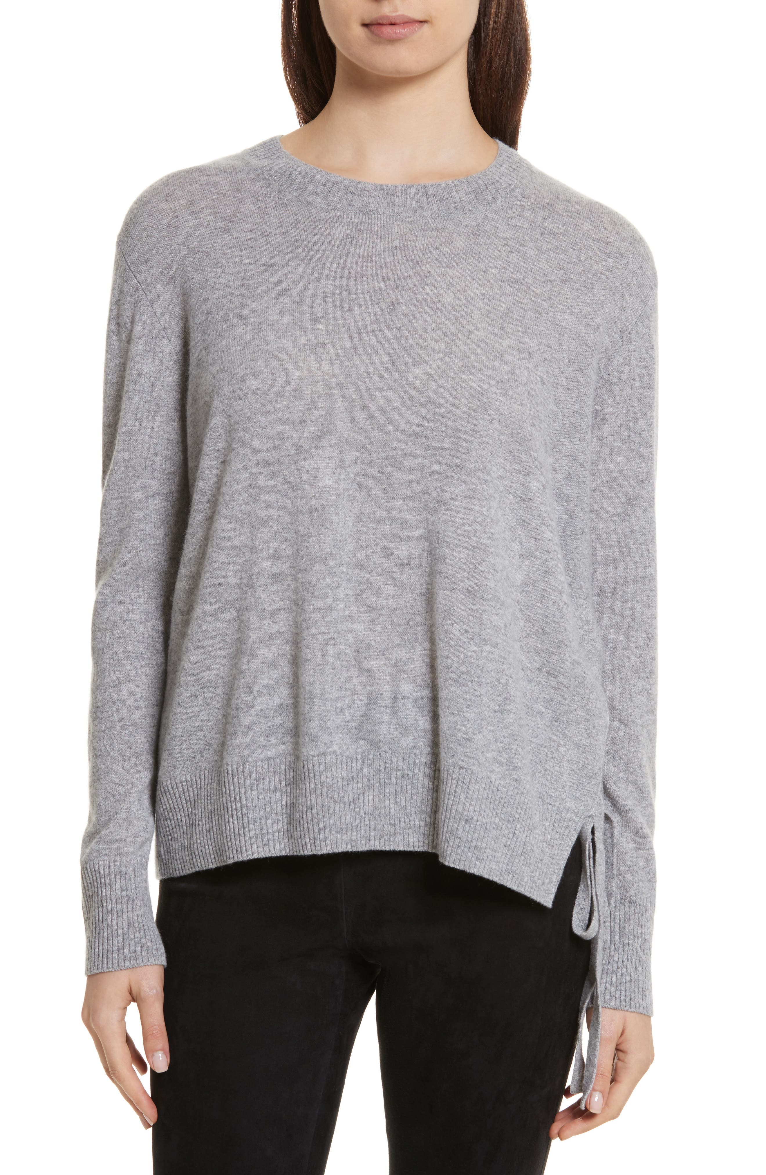 Side Tie Cashmere Sweater,                         Main,                         color, Steel