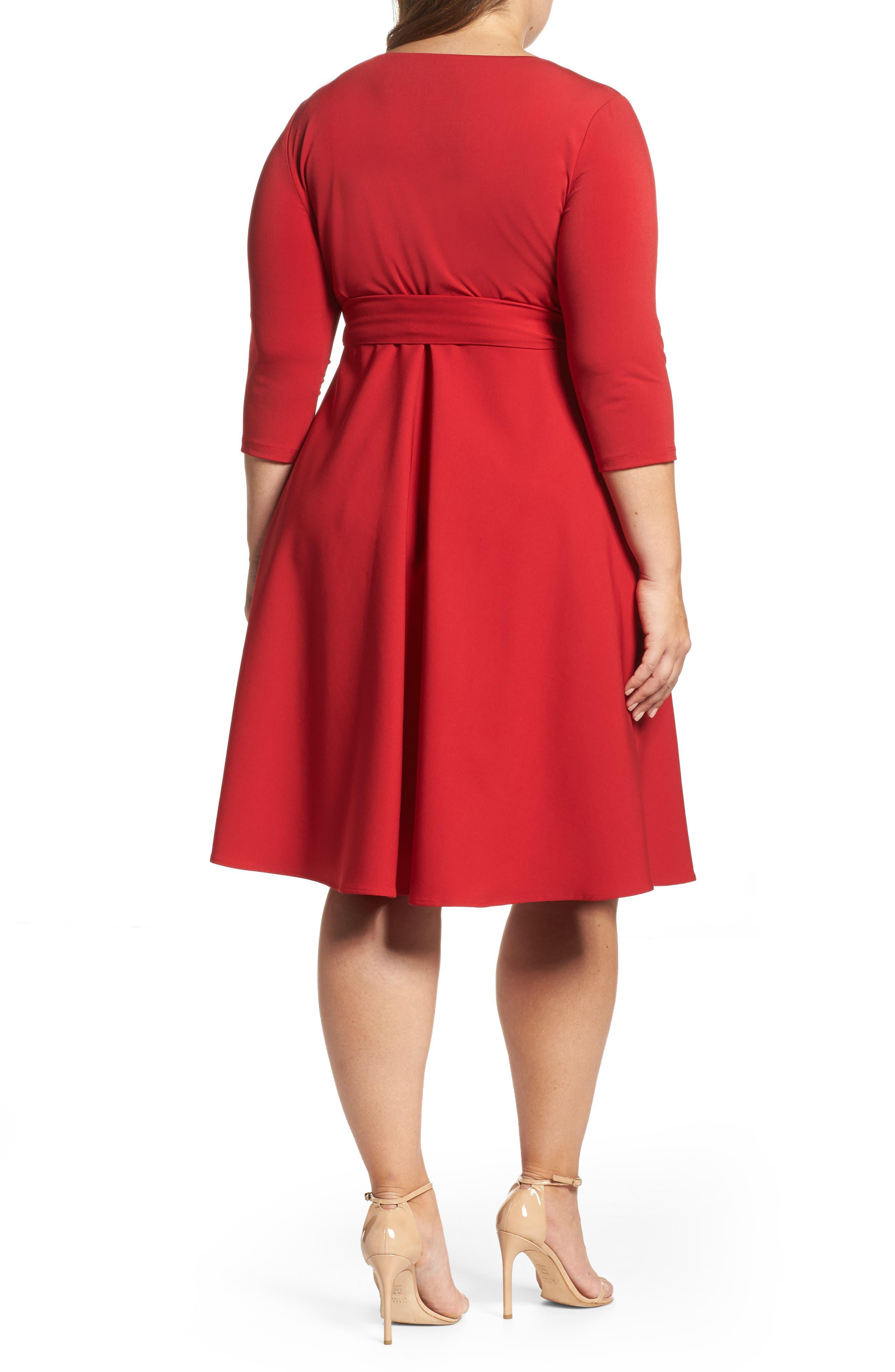Alternate Image 2  - Sangria Fit & Flare Wrap Dress (Plus Size)