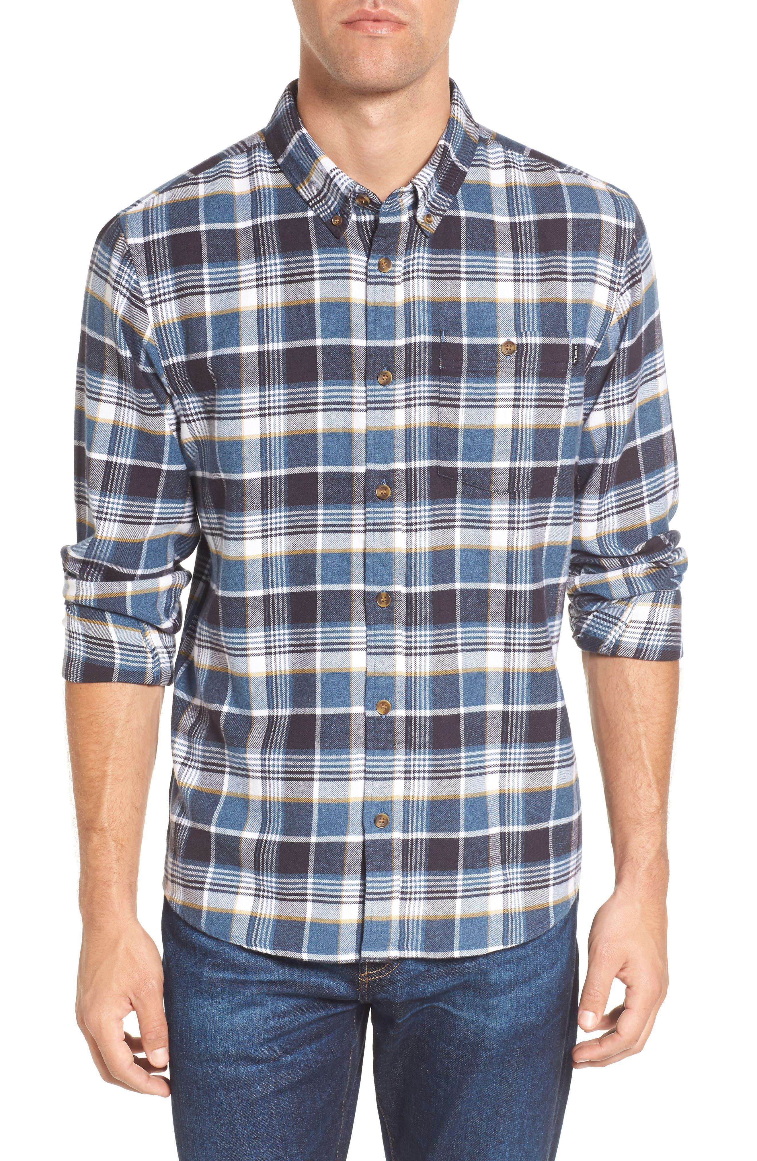 Redmond Regular Fit Plaid Flannel Shirt,                         Main,                         color, Ocean