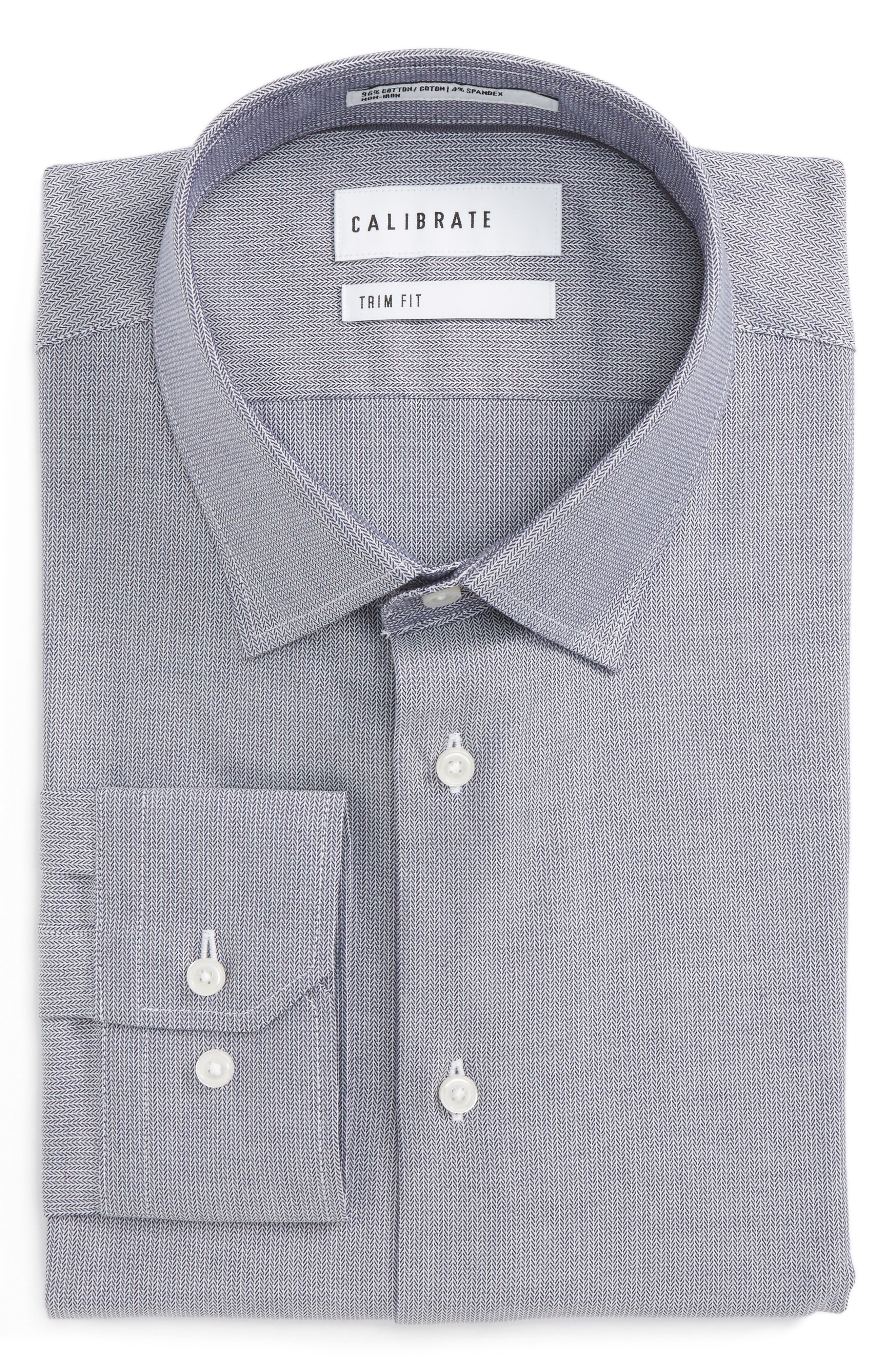 Calibrate Trim Fit No-Iron Stretch Cotton Dress Shirt