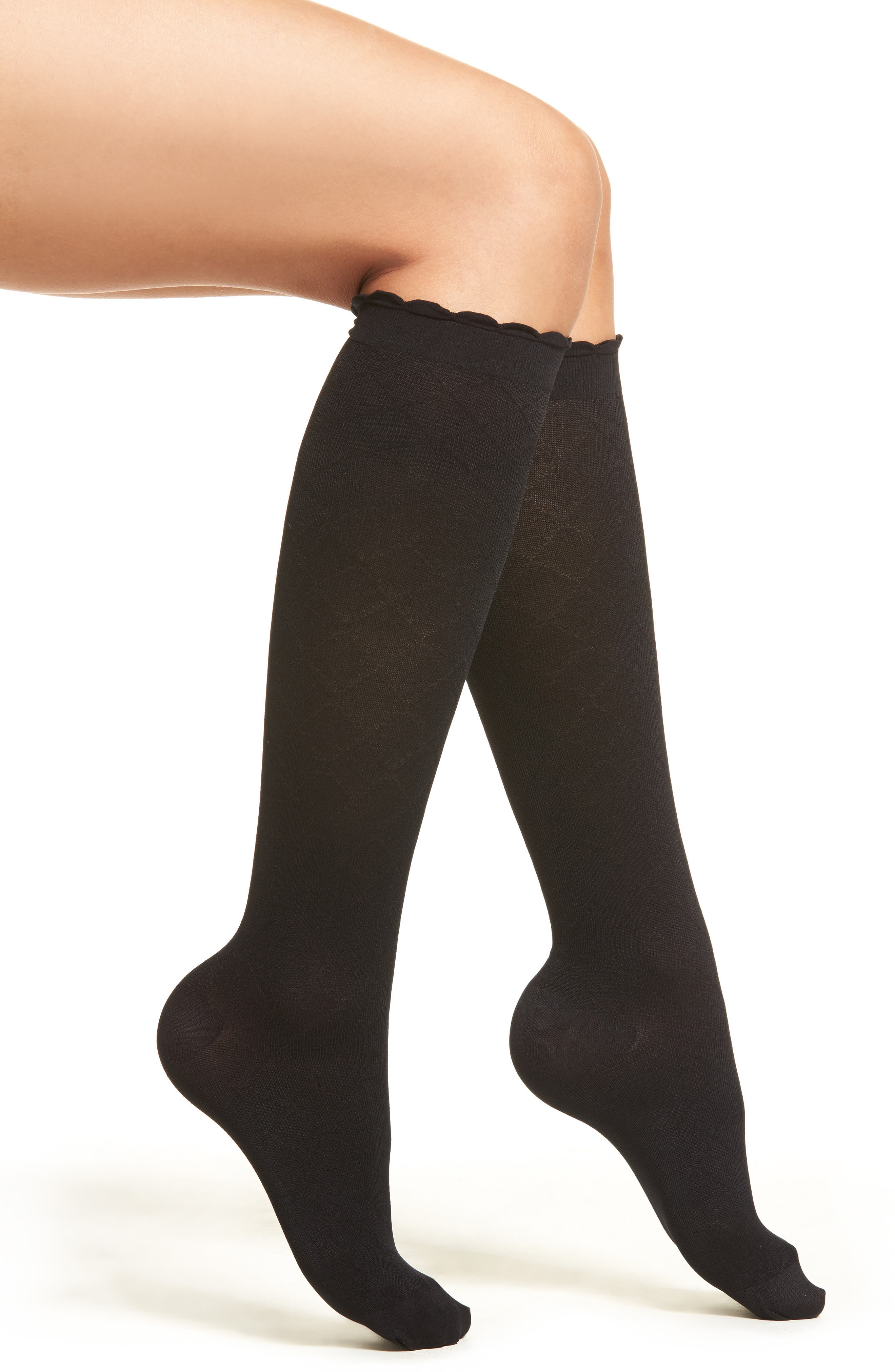Diamond Compression Knee High Socks,                             Main thumbnail 1, color,                             Black