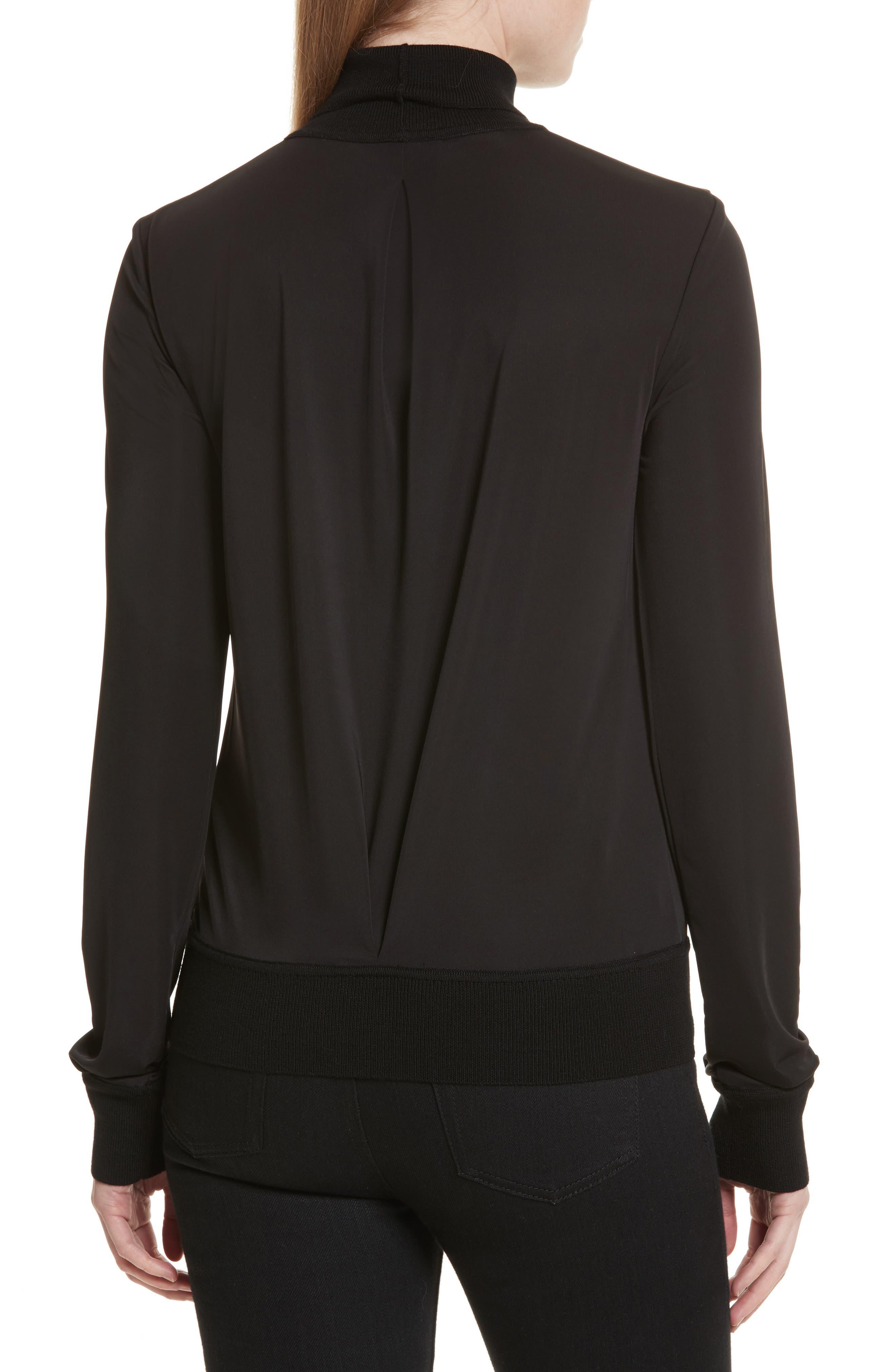 Merino Trim Turtleneck Sweater,                             Alternate thumbnail 2, color,                             Black