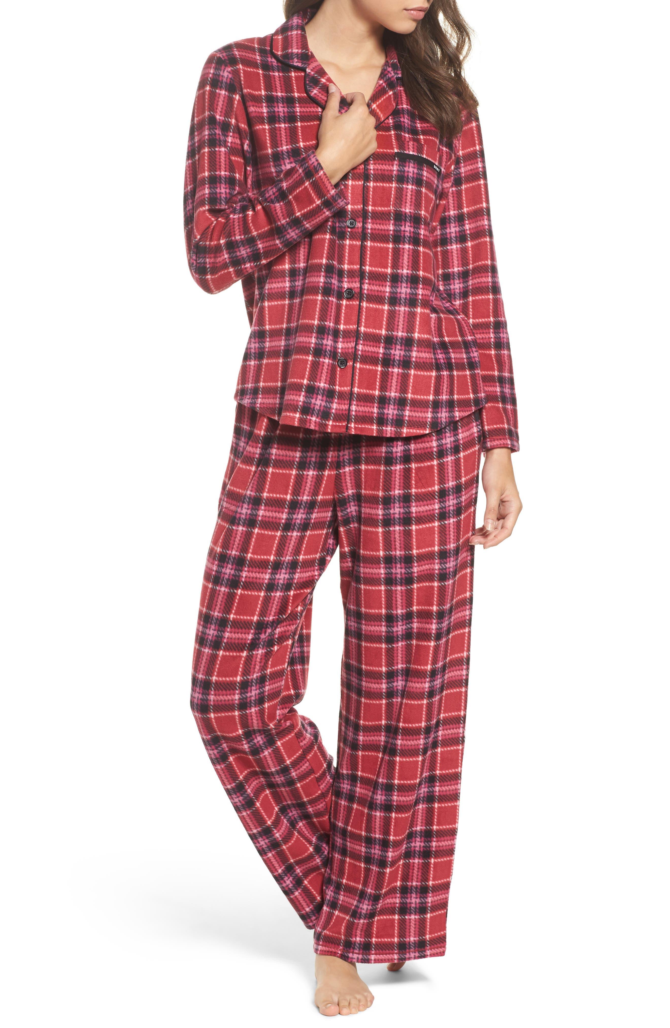 Stretch Fleece Long Pajamas,                         Main,                         color, Red Plaid