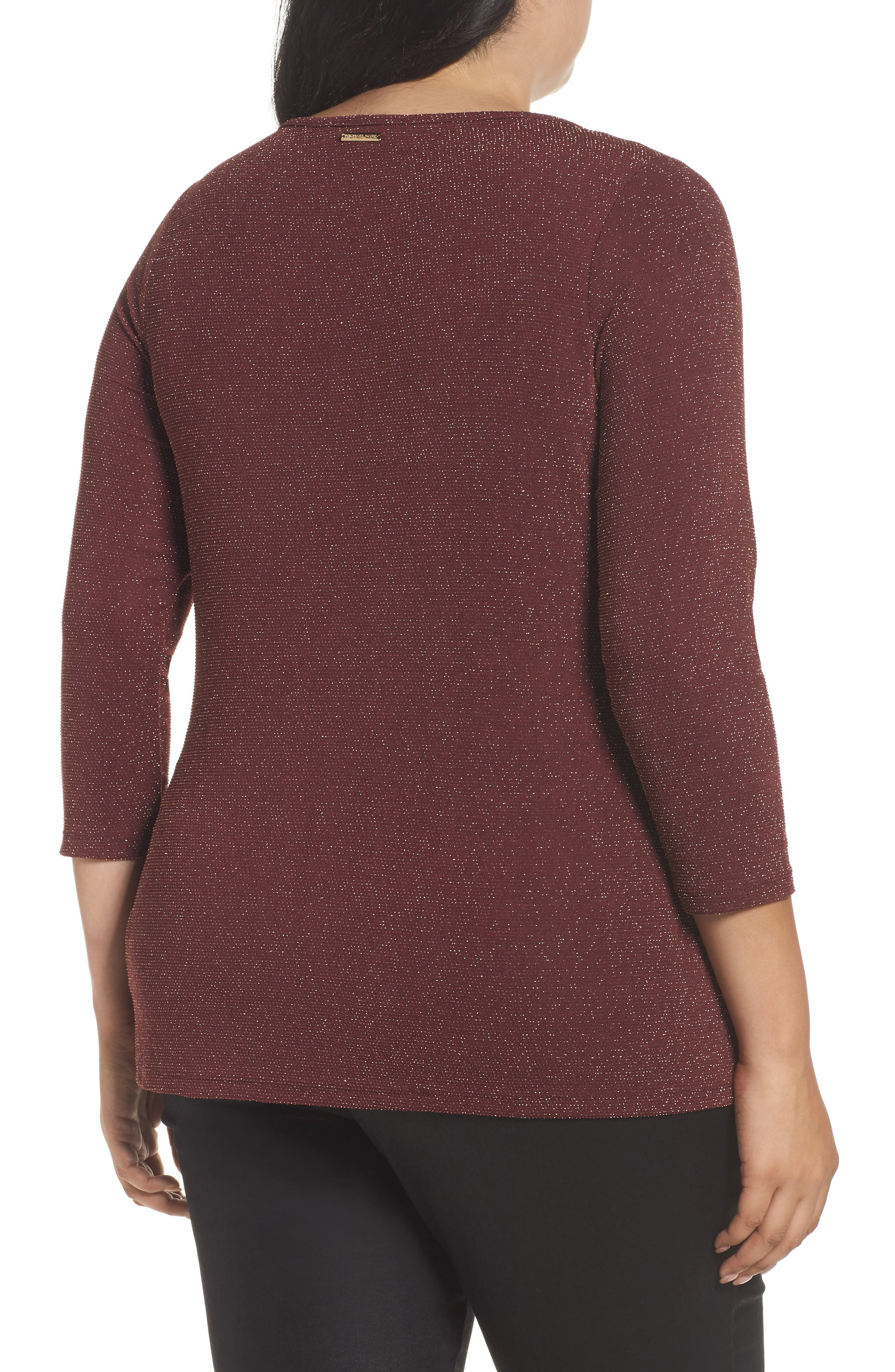 Metallic Top,                             Alternate thumbnail 2, color,                             Merlot