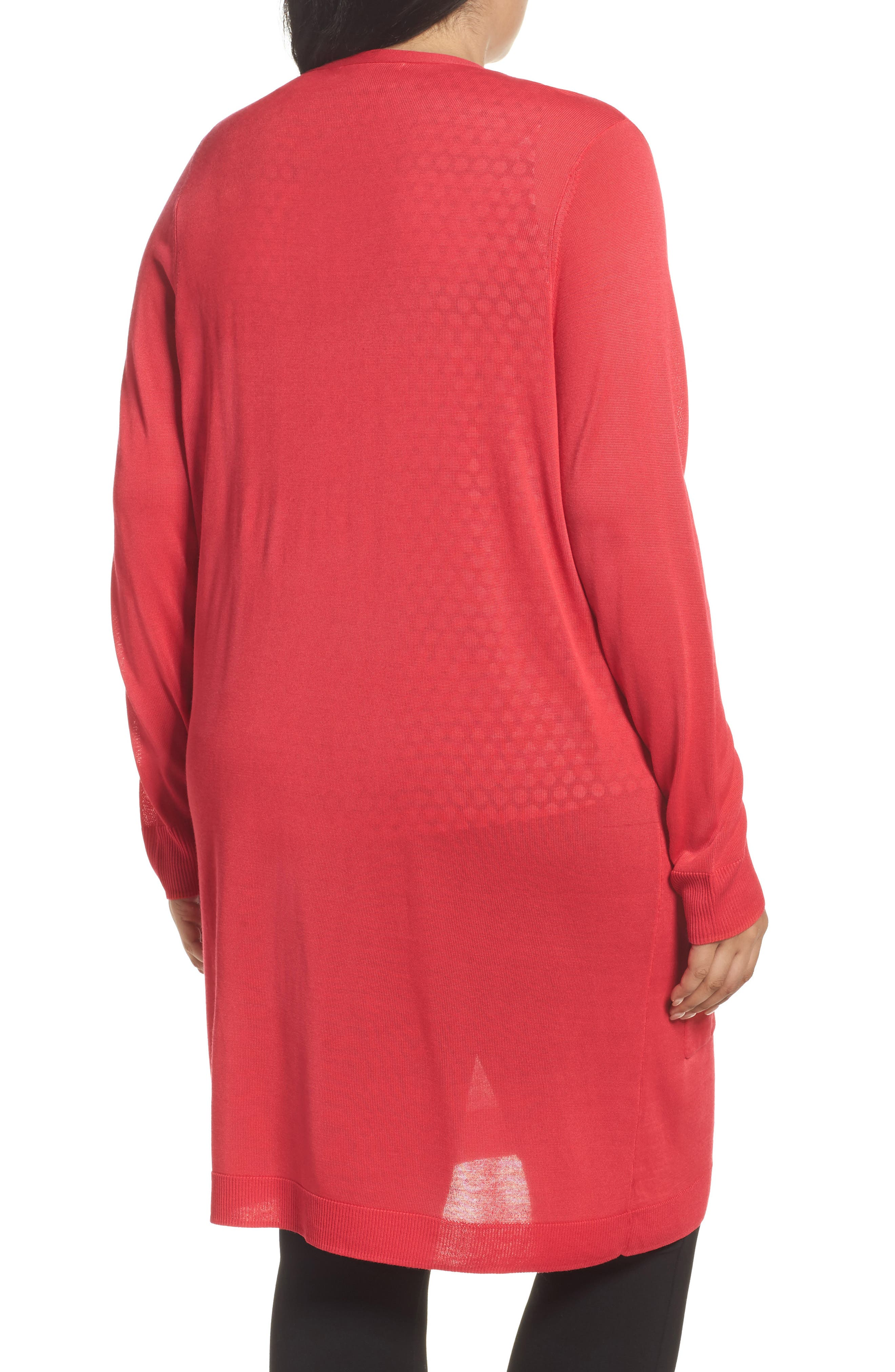 Long Cardigan,                             Alternate thumbnail 2, color,                             Red Barberry