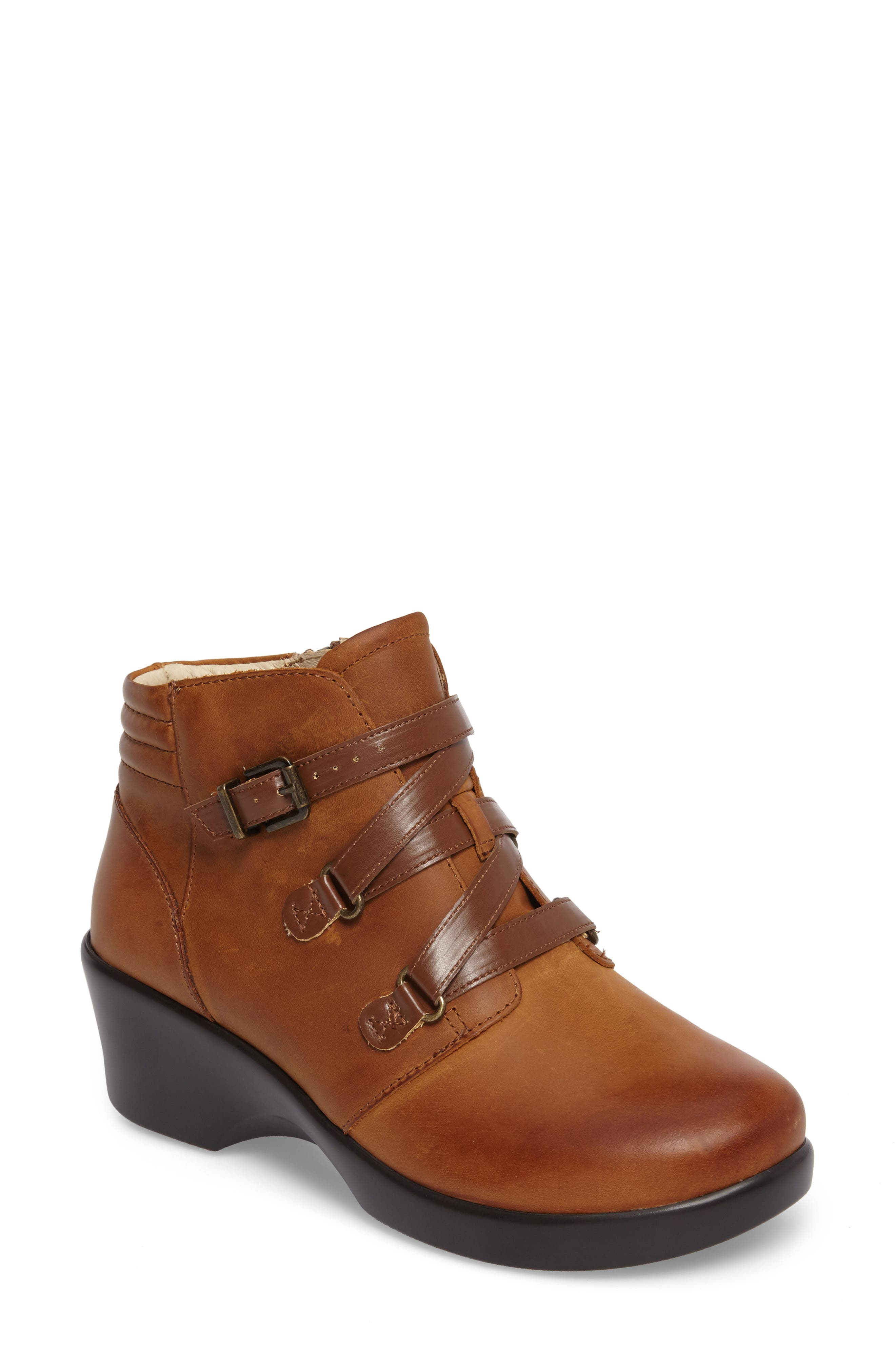Indi Demi Wedge Bootie,                             Main thumbnail 1, color,                             Walnut Leather