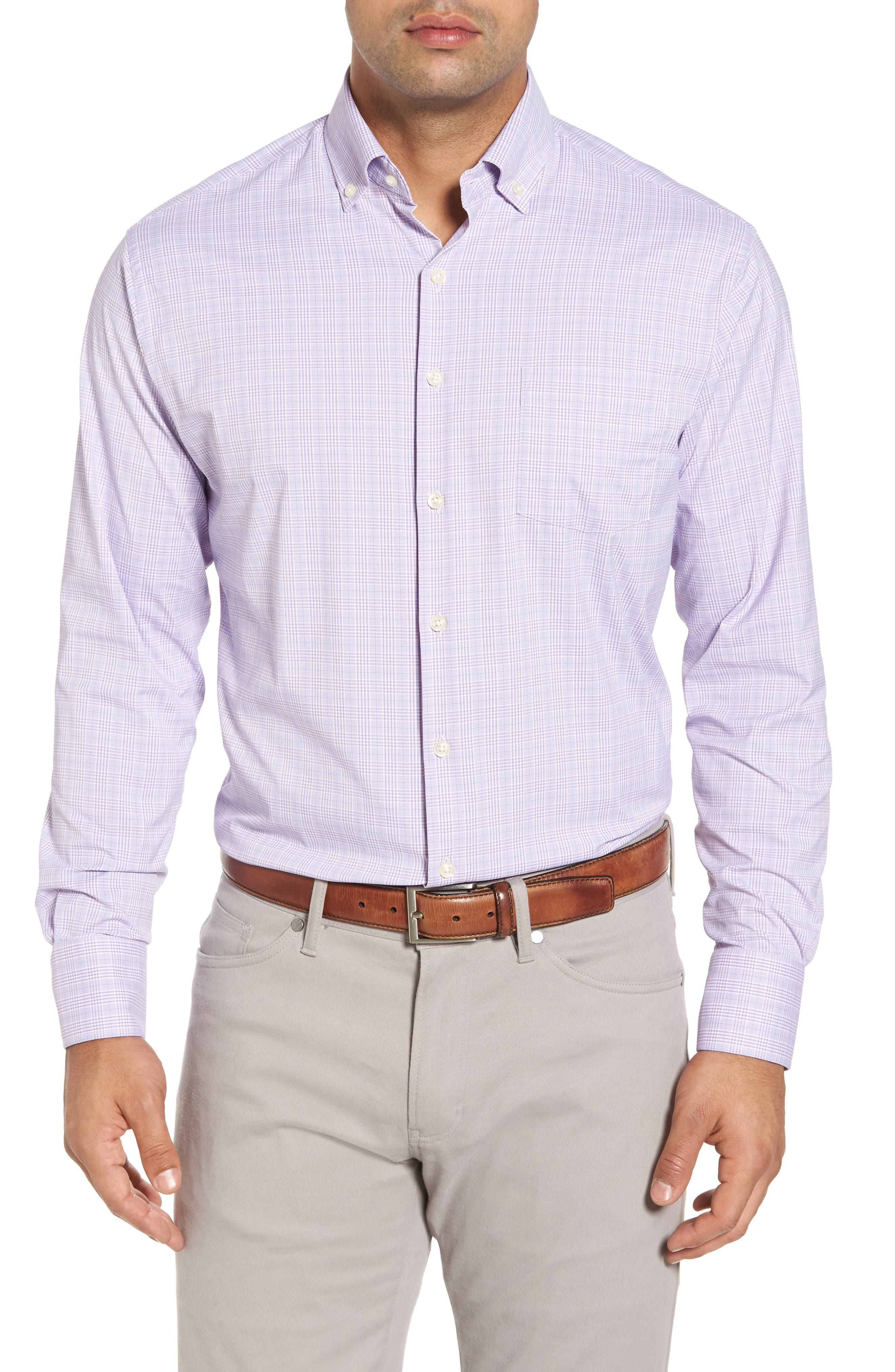 McConnell Plaid Regular Fit Performance Sport Shirt,                         Main,                         color, Muscadine