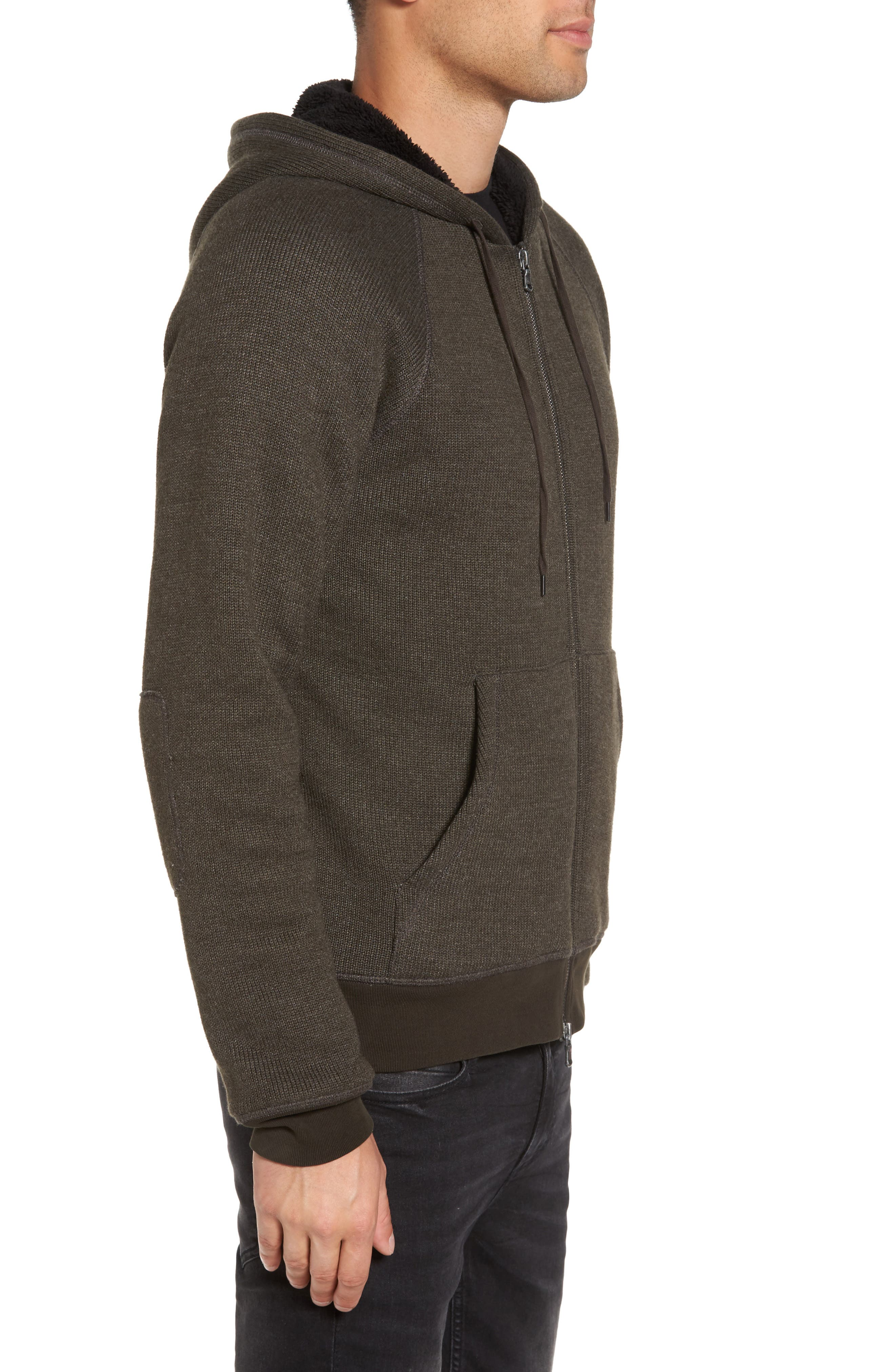 Fleece Lined Zip Hoodie,                             Alternate thumbnail 3, color,                             Olive Branch
