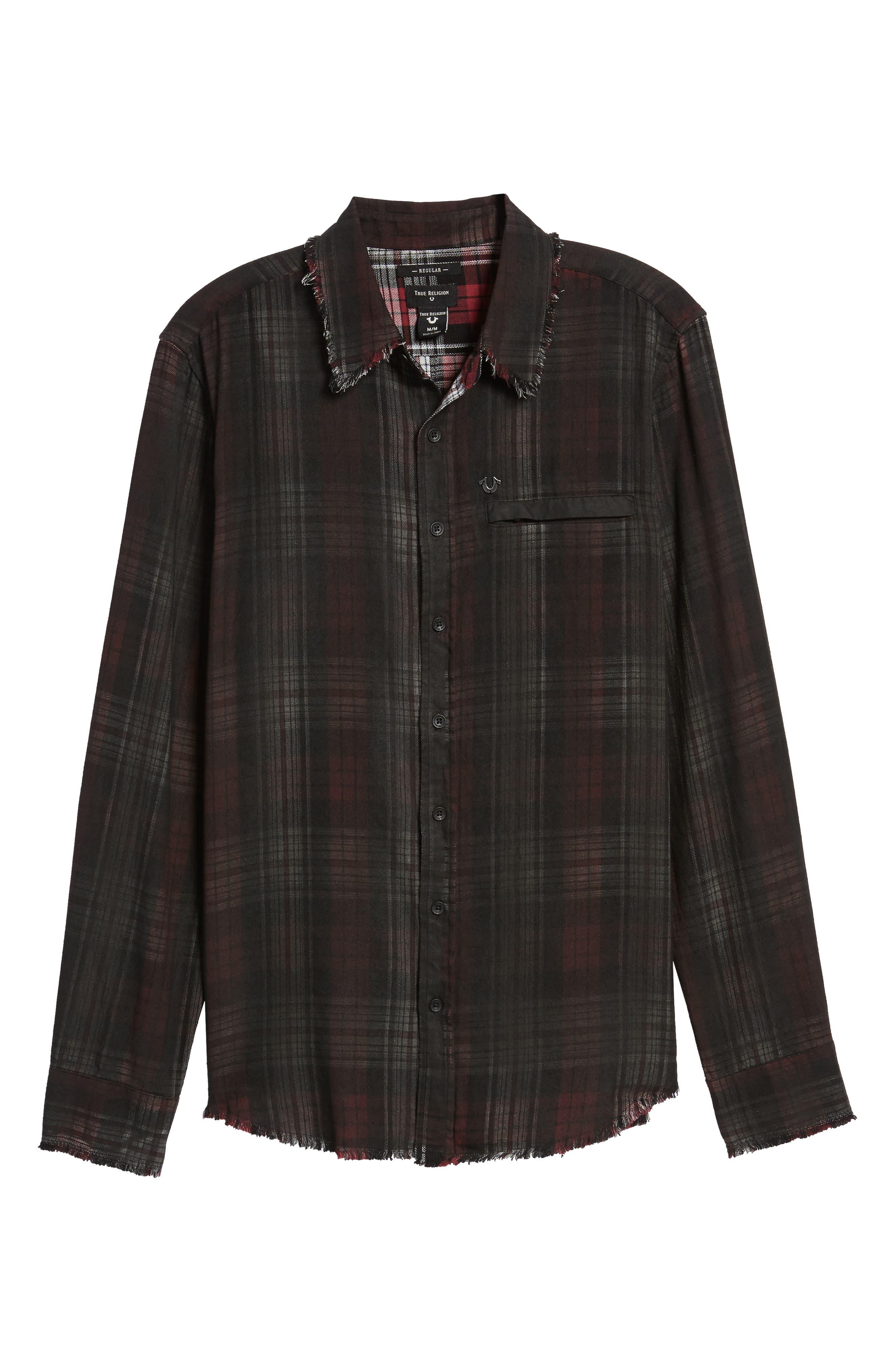 Coated Punk Woven Shirt,                             Alternate thumbnail 6, color,                             Oxblood Plaid