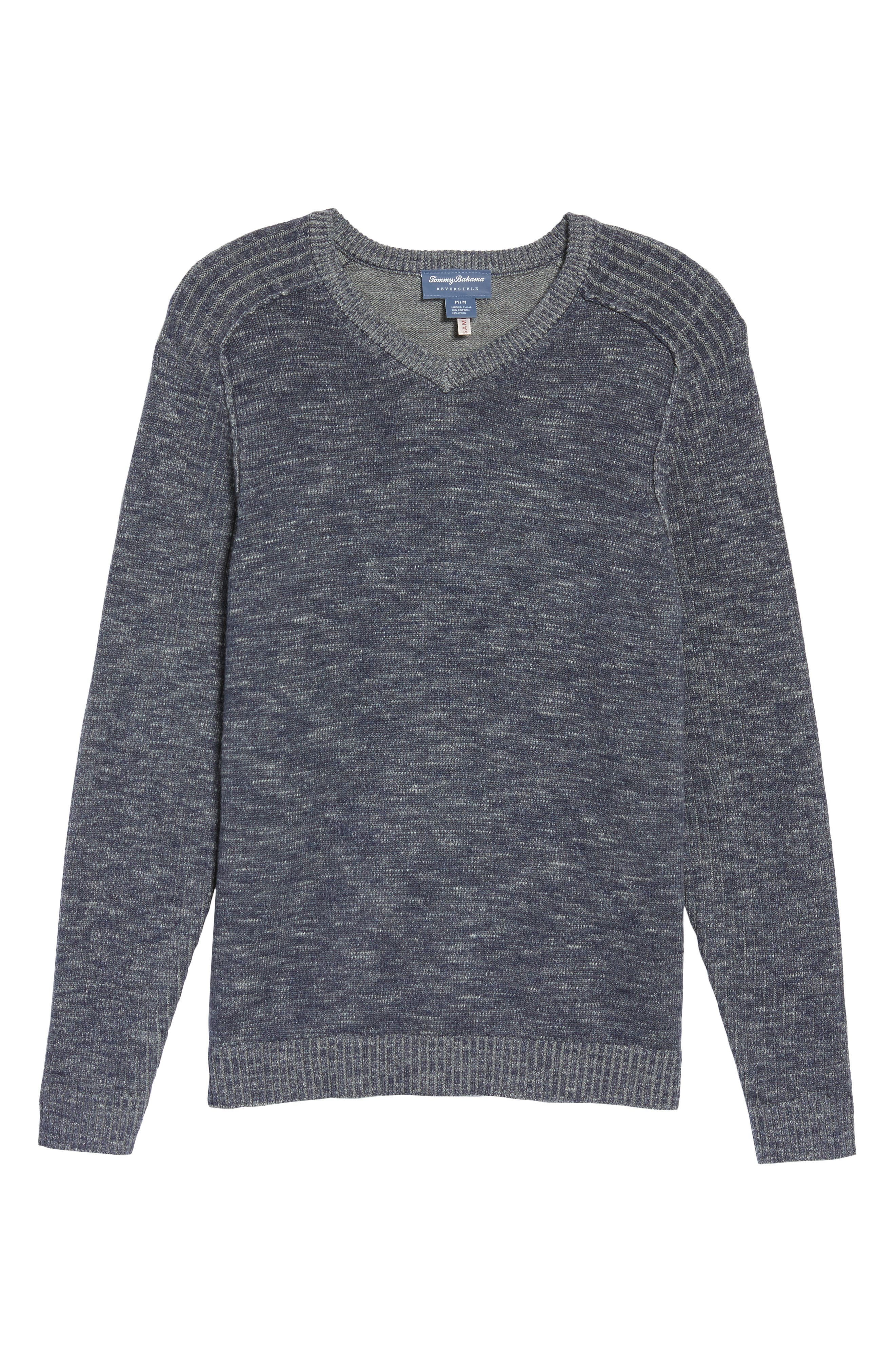 Gran Rey Flip Reversible Cotton & Wool Sweater,                             Alternate thumbnail 5, color,                             Ocean Deep Heather