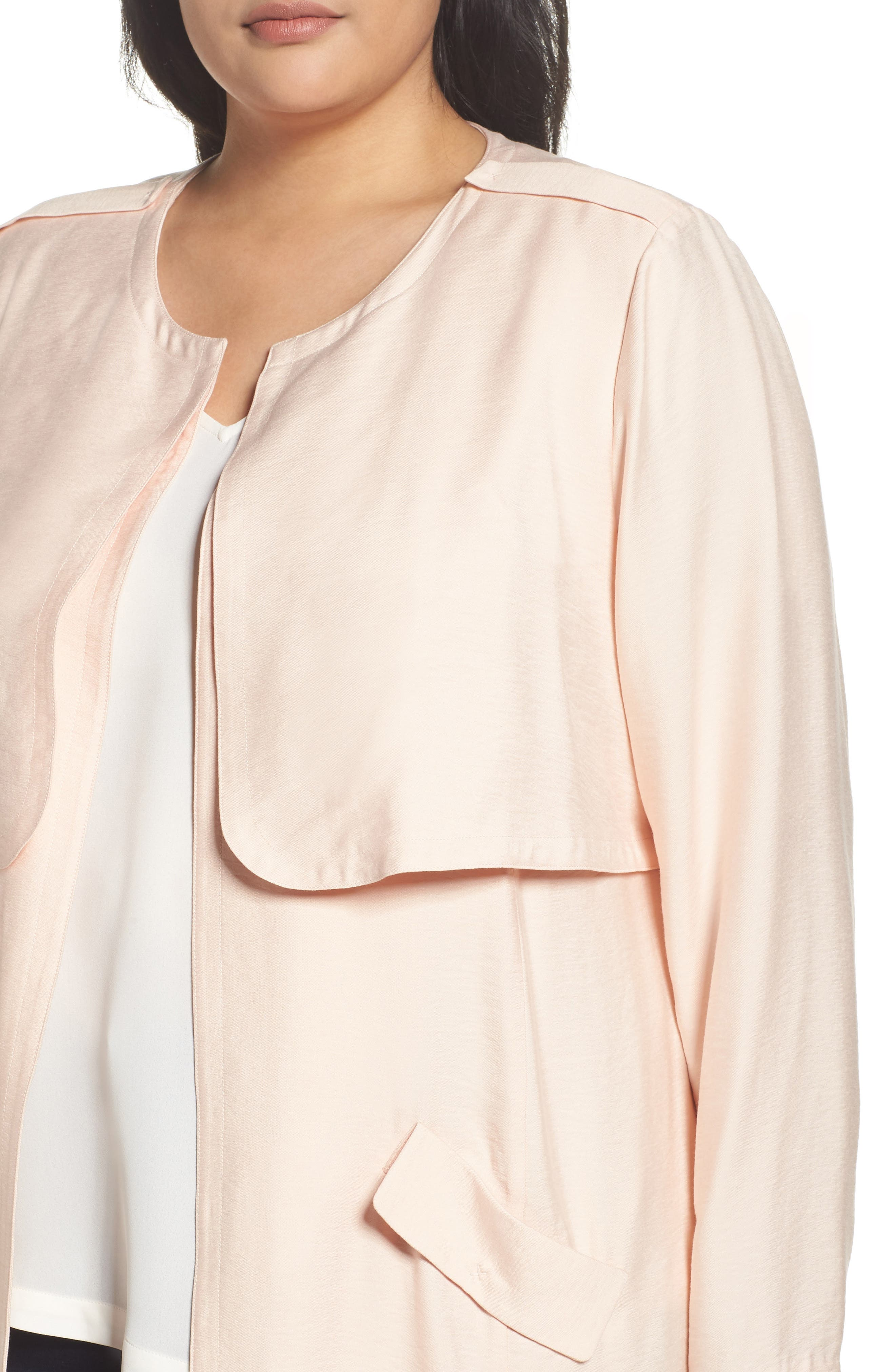 Long Open Front Trench Coat,                             Alternate thumbnail 4, color,                             Pink Wood