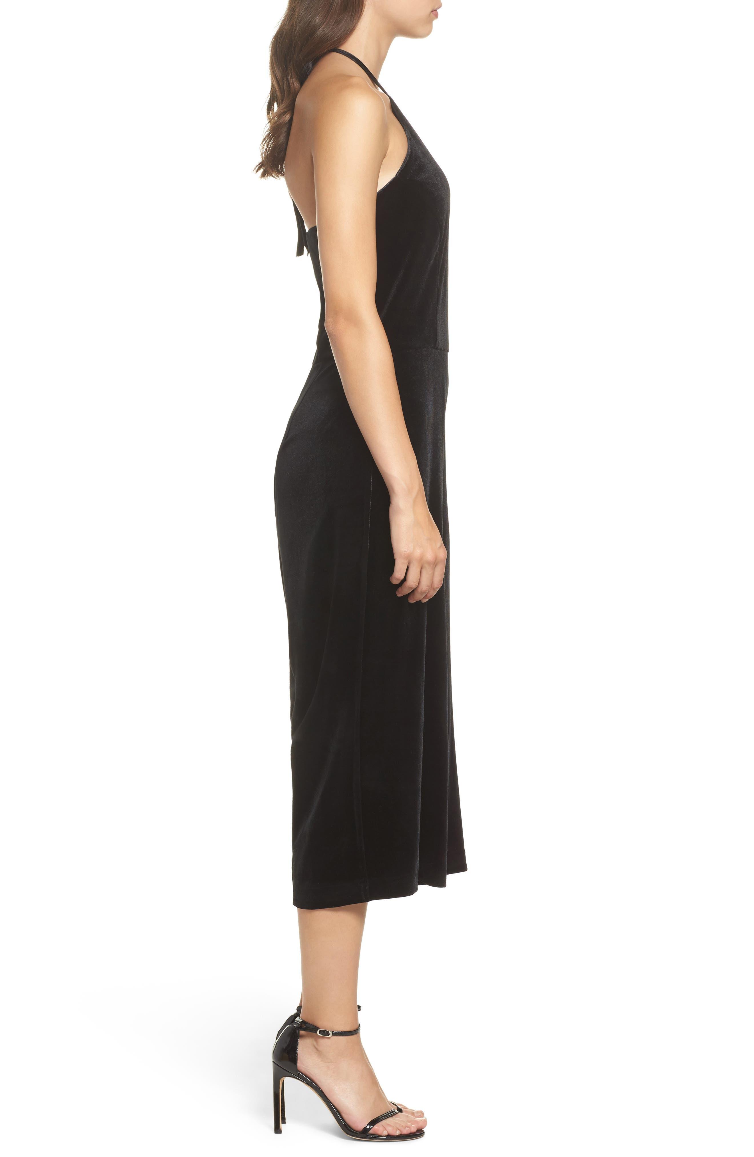 Stretch Velvet Culotte Jumpsuit,                             Alternate thumbnail 3, color,                             Black