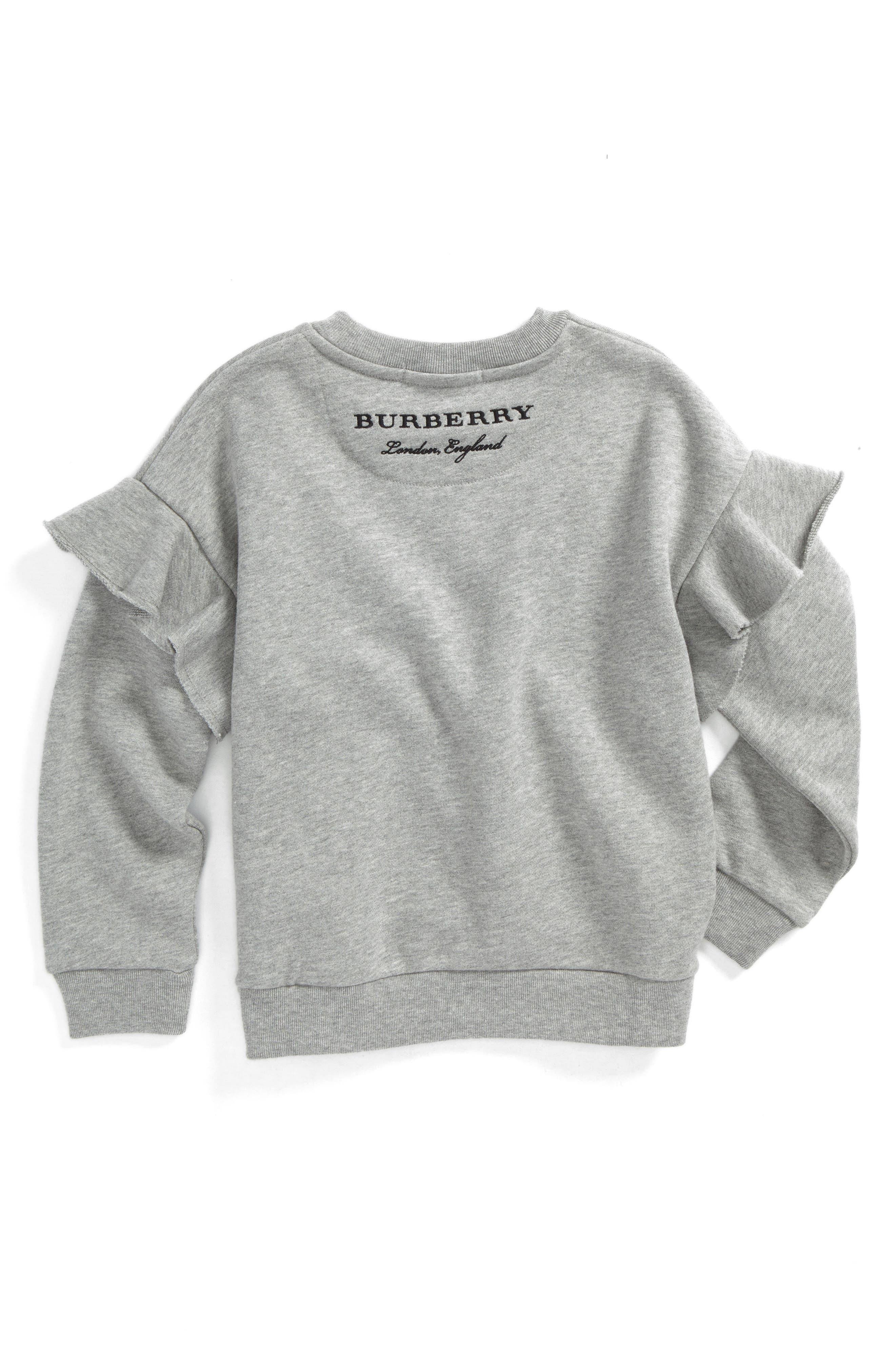 Mini Neiman Ruffle Sweatshirt,                             Alternate thumbnail 2, color,                             Grey Melange