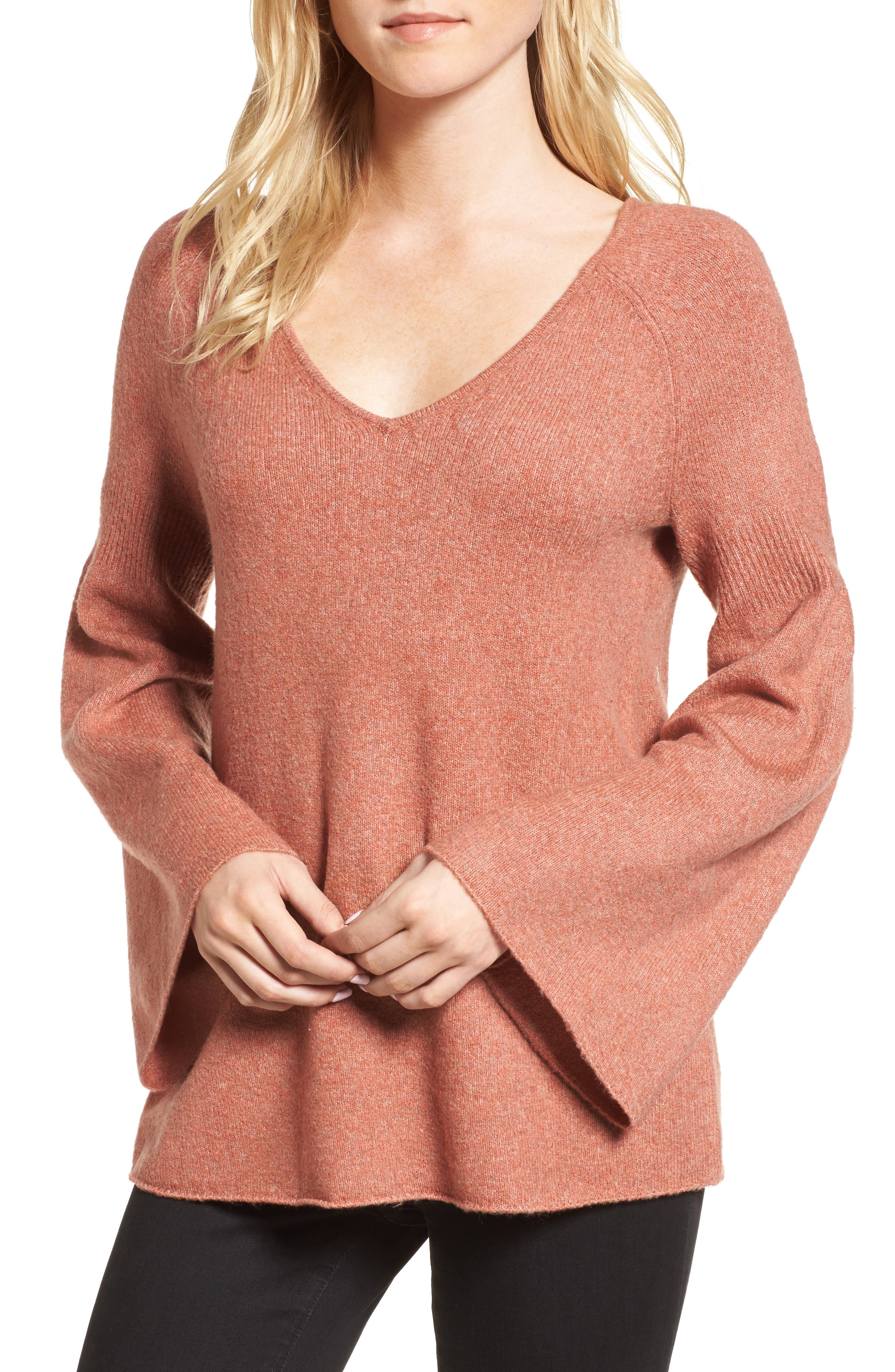 Bell Sleeve Sweater,                         Main,                         color, Coral Rose Tea Rainbow Multi