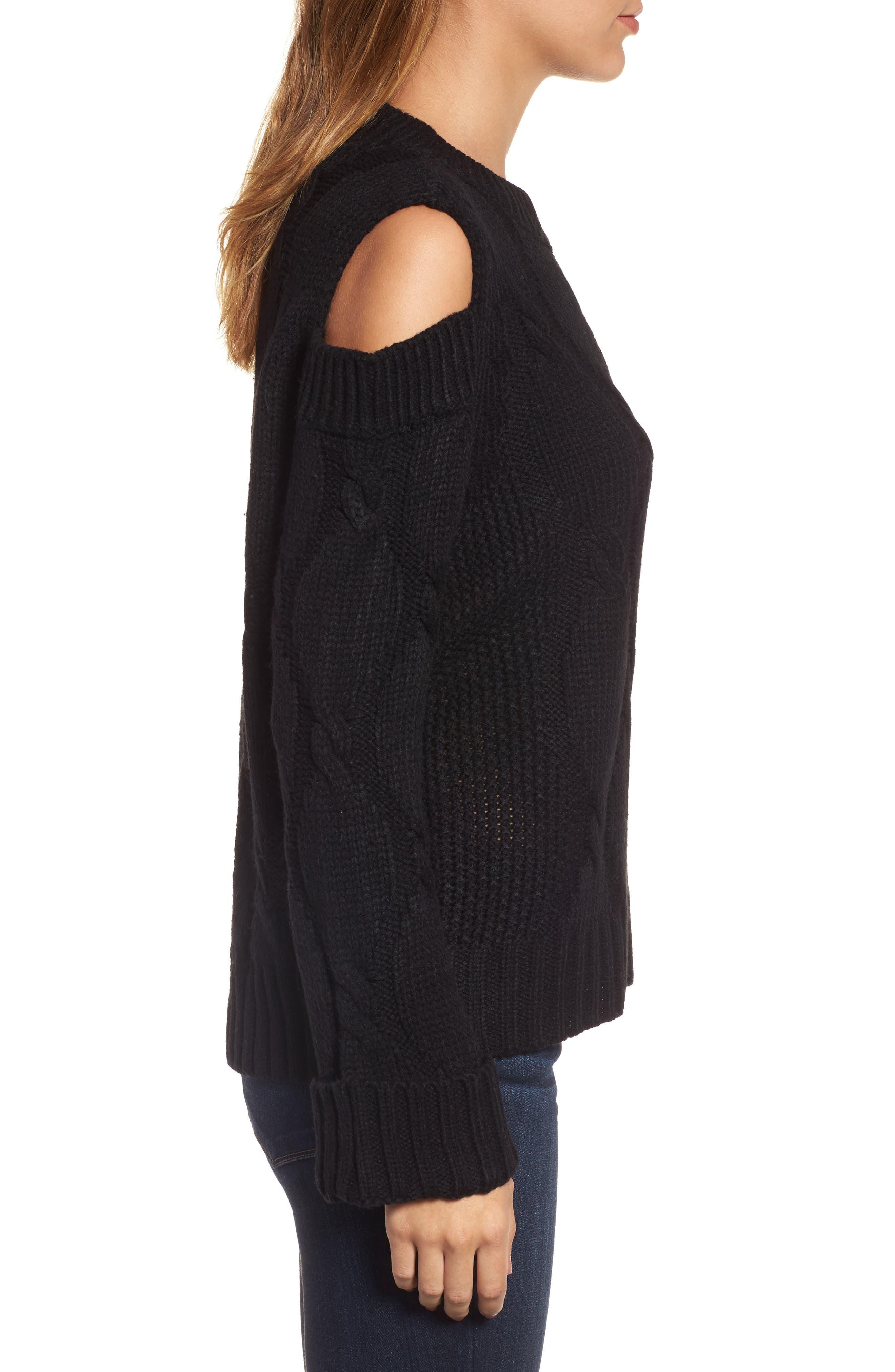 Cold Shoulder Cable Sweater,                             Alternate thumbnail 3, color,                             Black