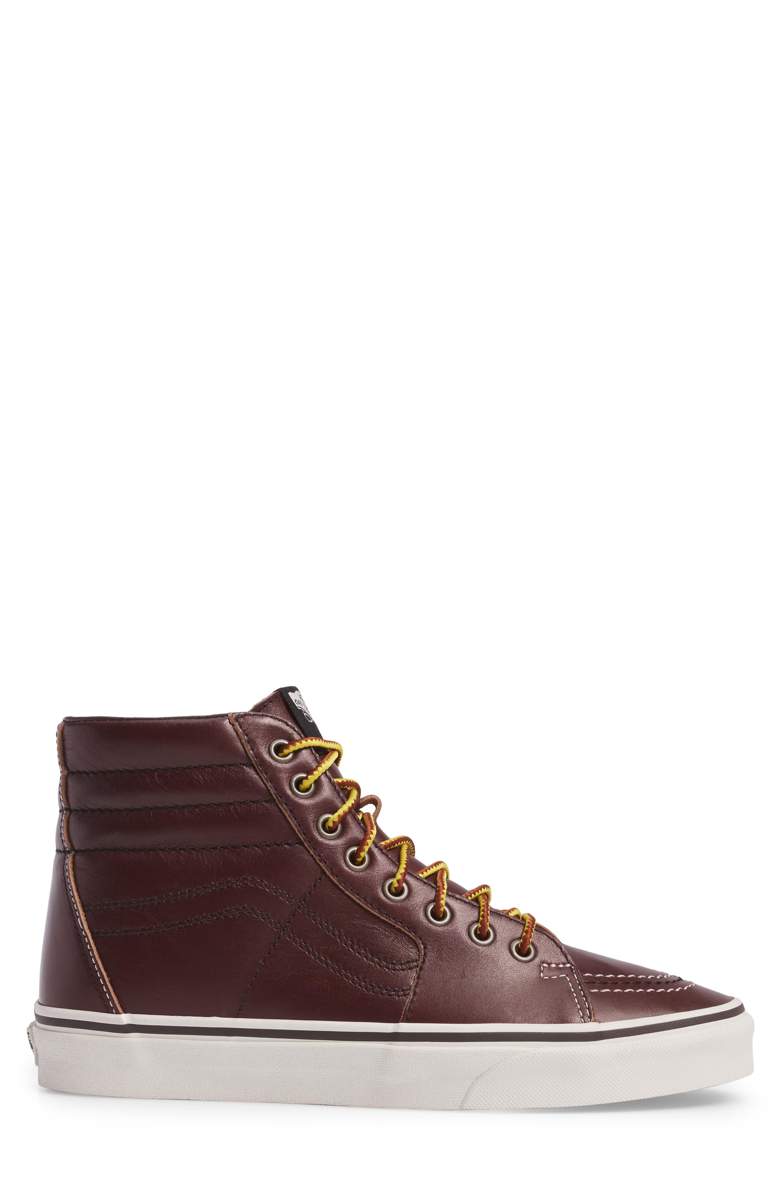 Sk8-Hi Sneaker,                             Alternate thumbnail 3, color,                             Rum Raisin/Marshmallow Leather