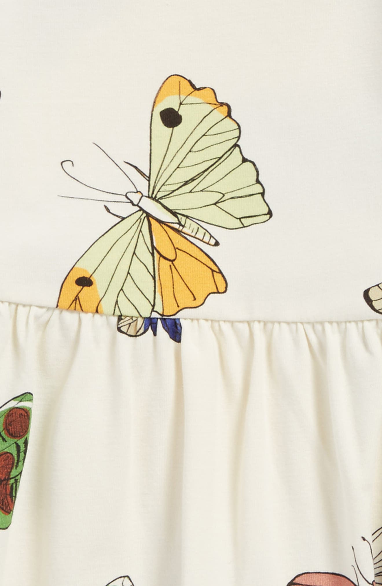 Butterflies Organic Cotton Dress,                             Alternate thumbnail 2, color,                             Off White