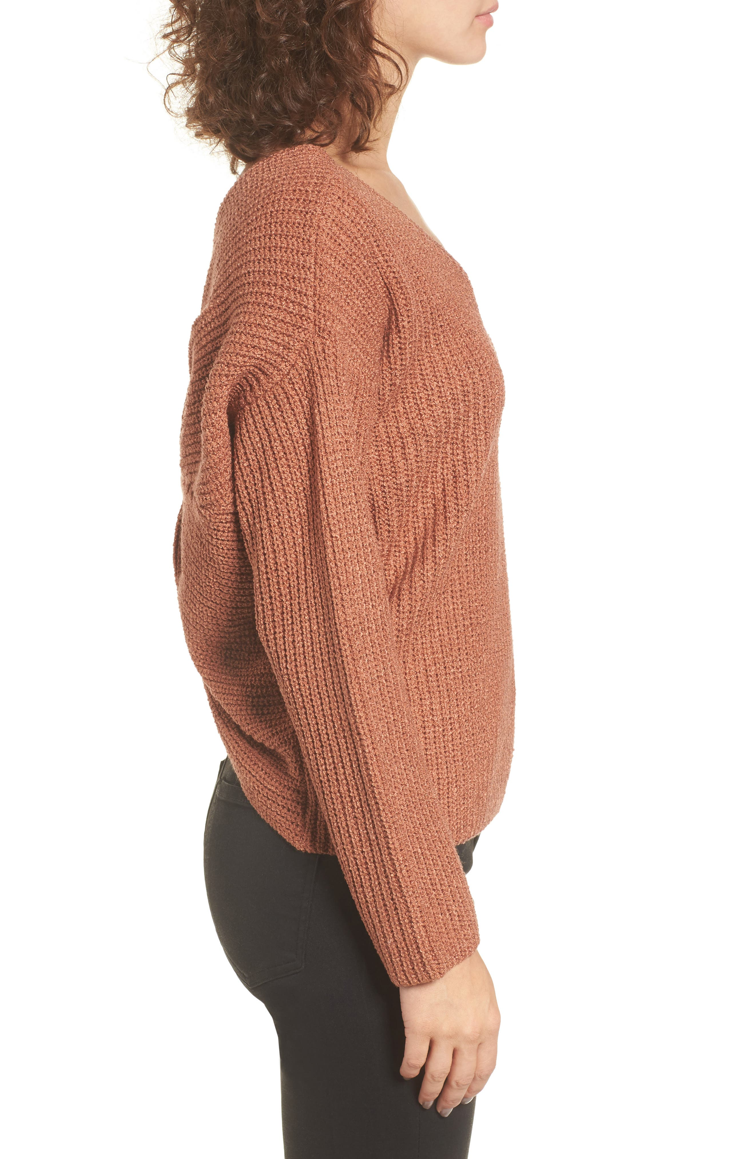 Twist Back Sweater,                             Alternate thumbnail 3, color,                             Coral Cedar