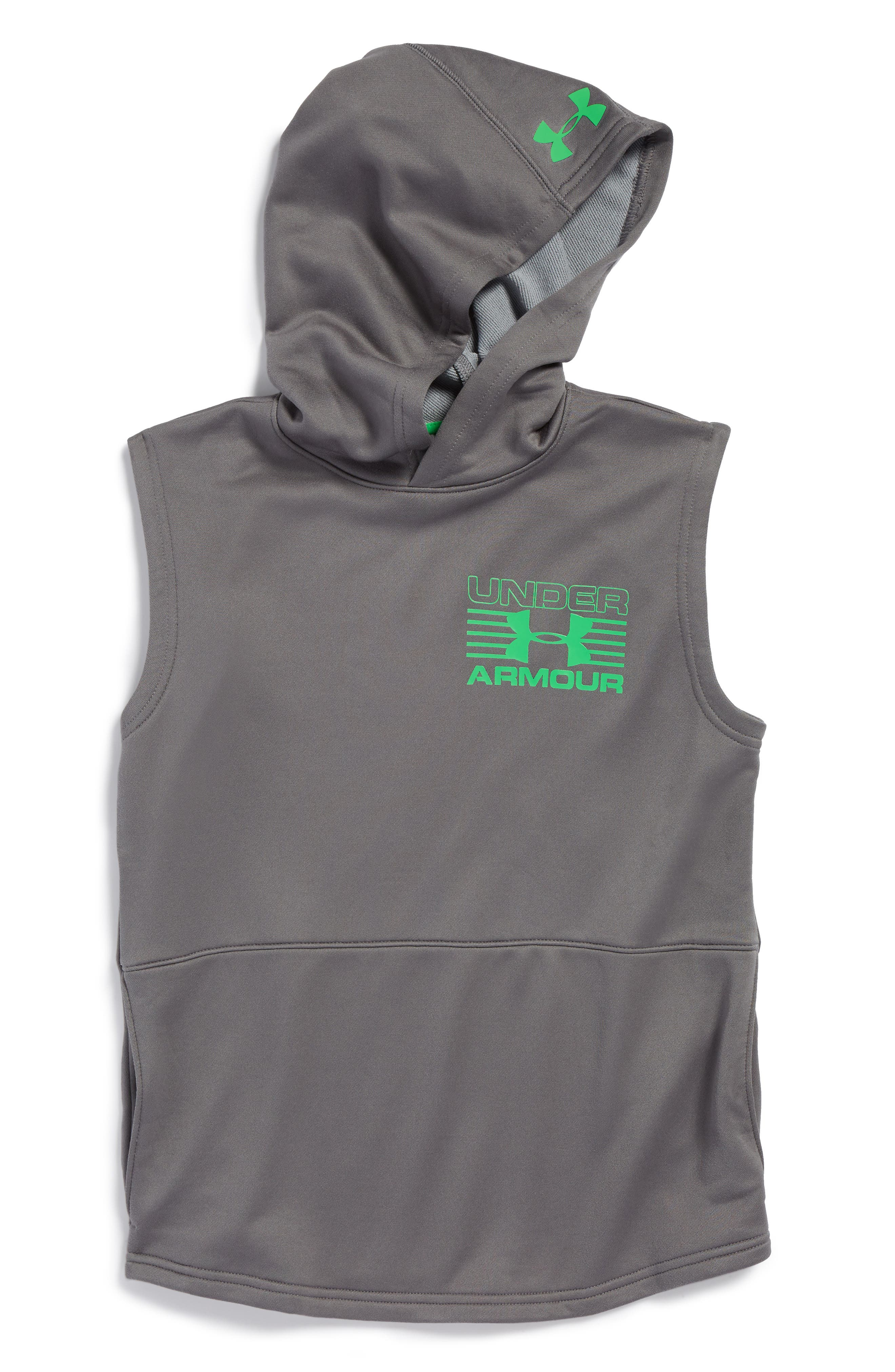 Train to Game Sleeveless ColdGear<sup>®</sup> Hoodie,                         Main,                         color, Graphite/ Lime Twist