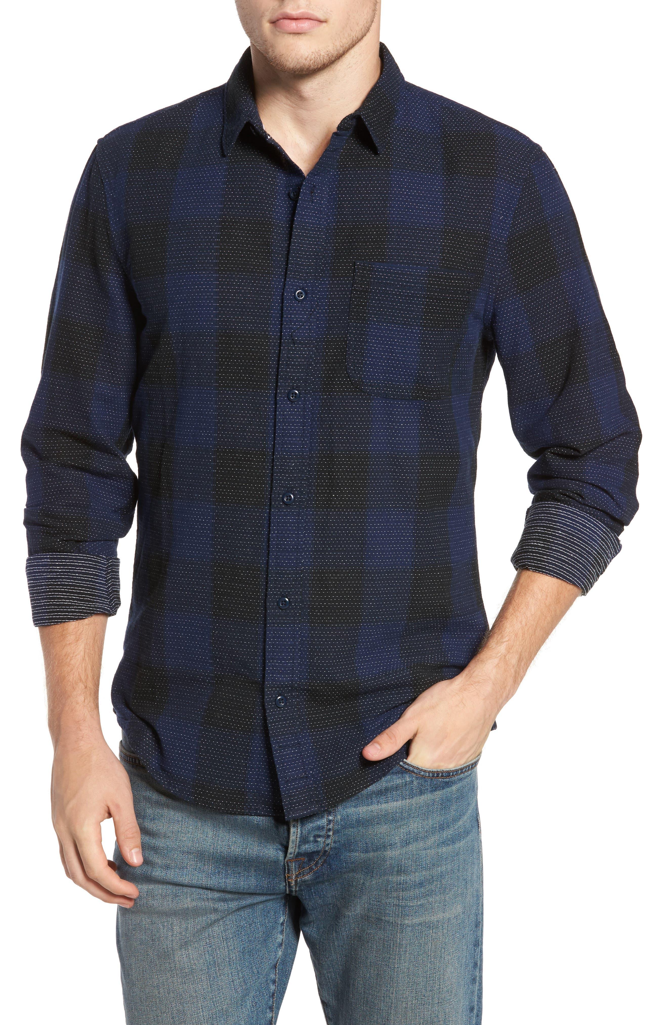 Dot Buffalo Plaid Shirt,                         Main,                         color, Black Rock- Blue Buffalo Plaid