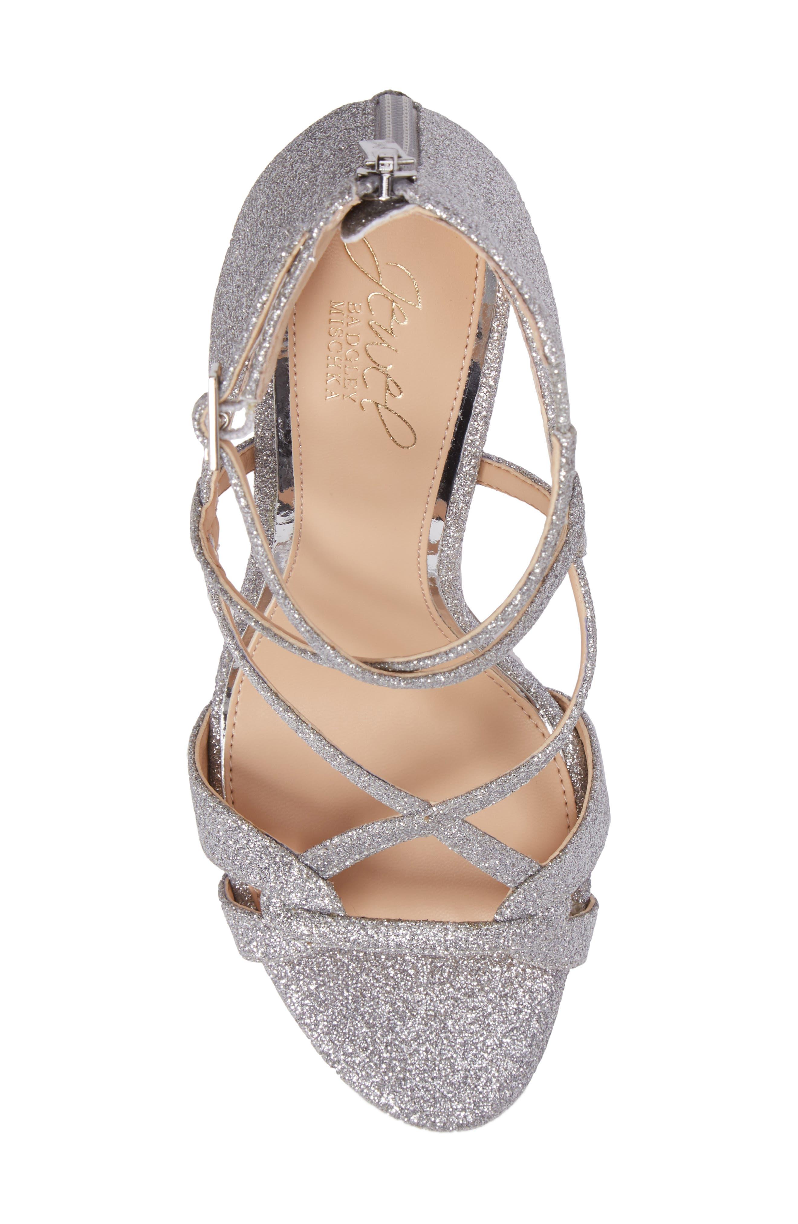 Alternate Image 5  - Jewel Badgley Mischka Aliza Strappy Glitter Sandal (Women)