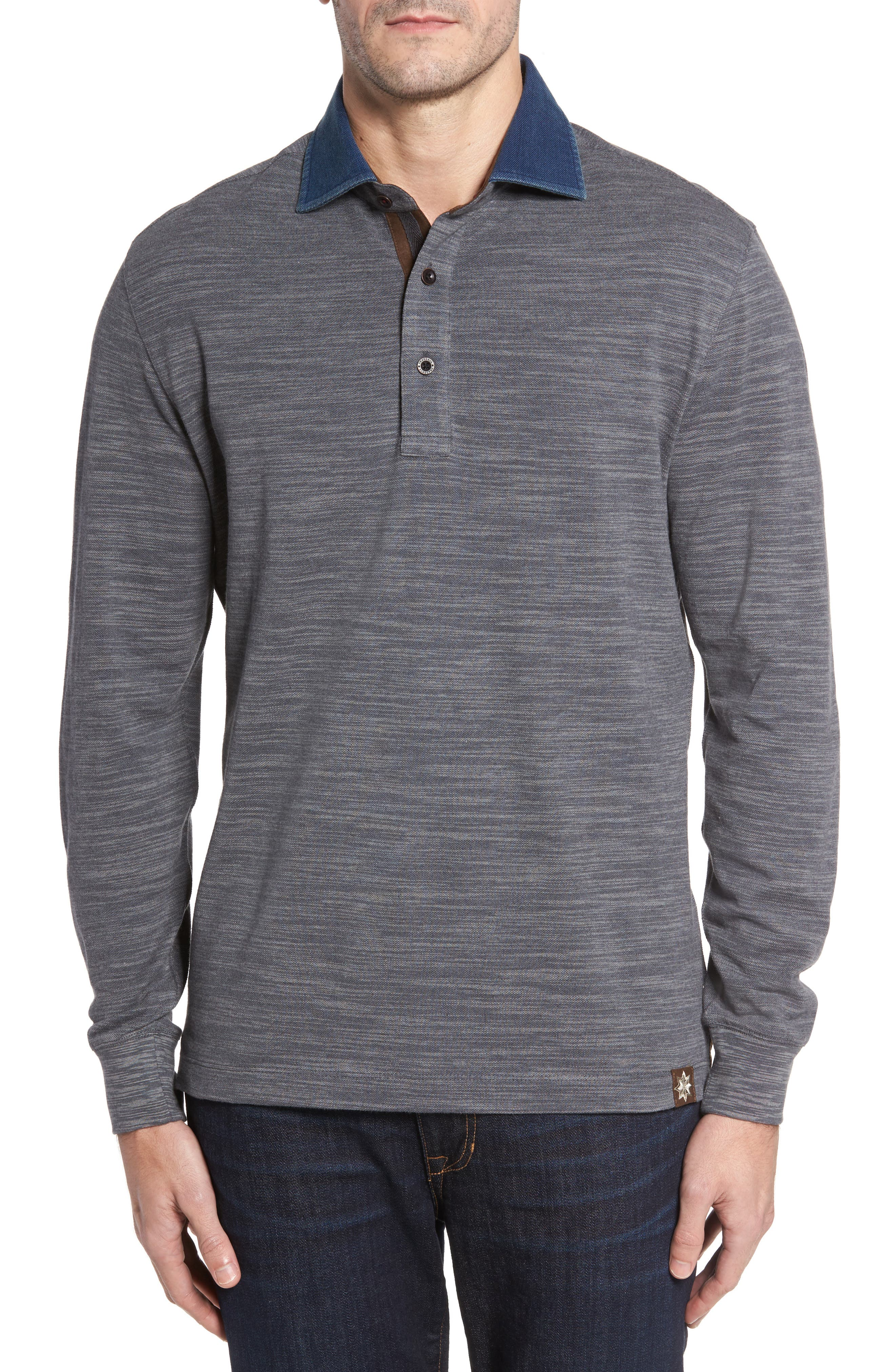 Patton Space Dyed Long Sleeve Polo,                         Main,                         color, Graphite