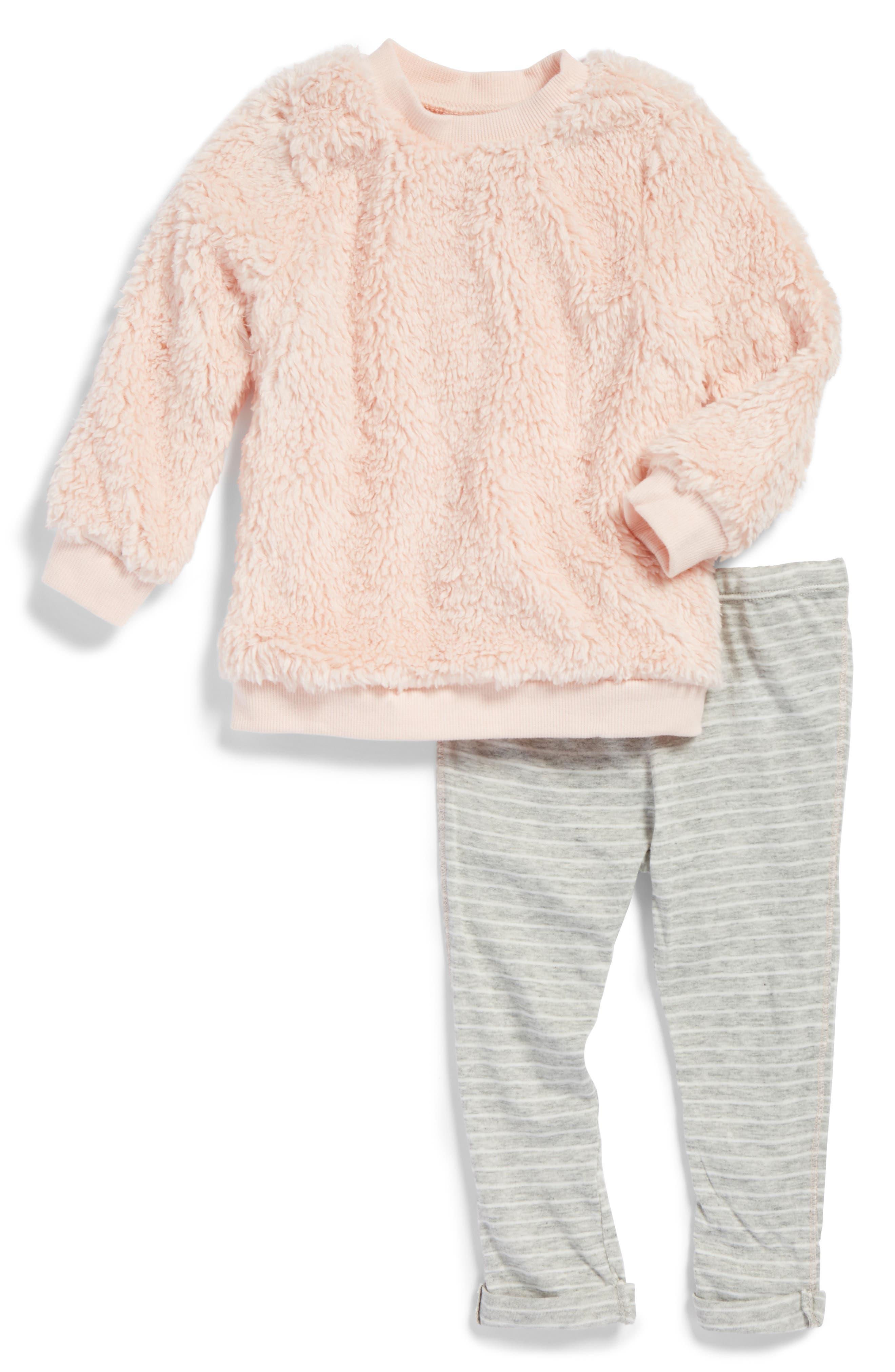 Main Image - Splendid High-Pile Fleece Pullover Sweatshirt & Leggings Set (Baby Girls)