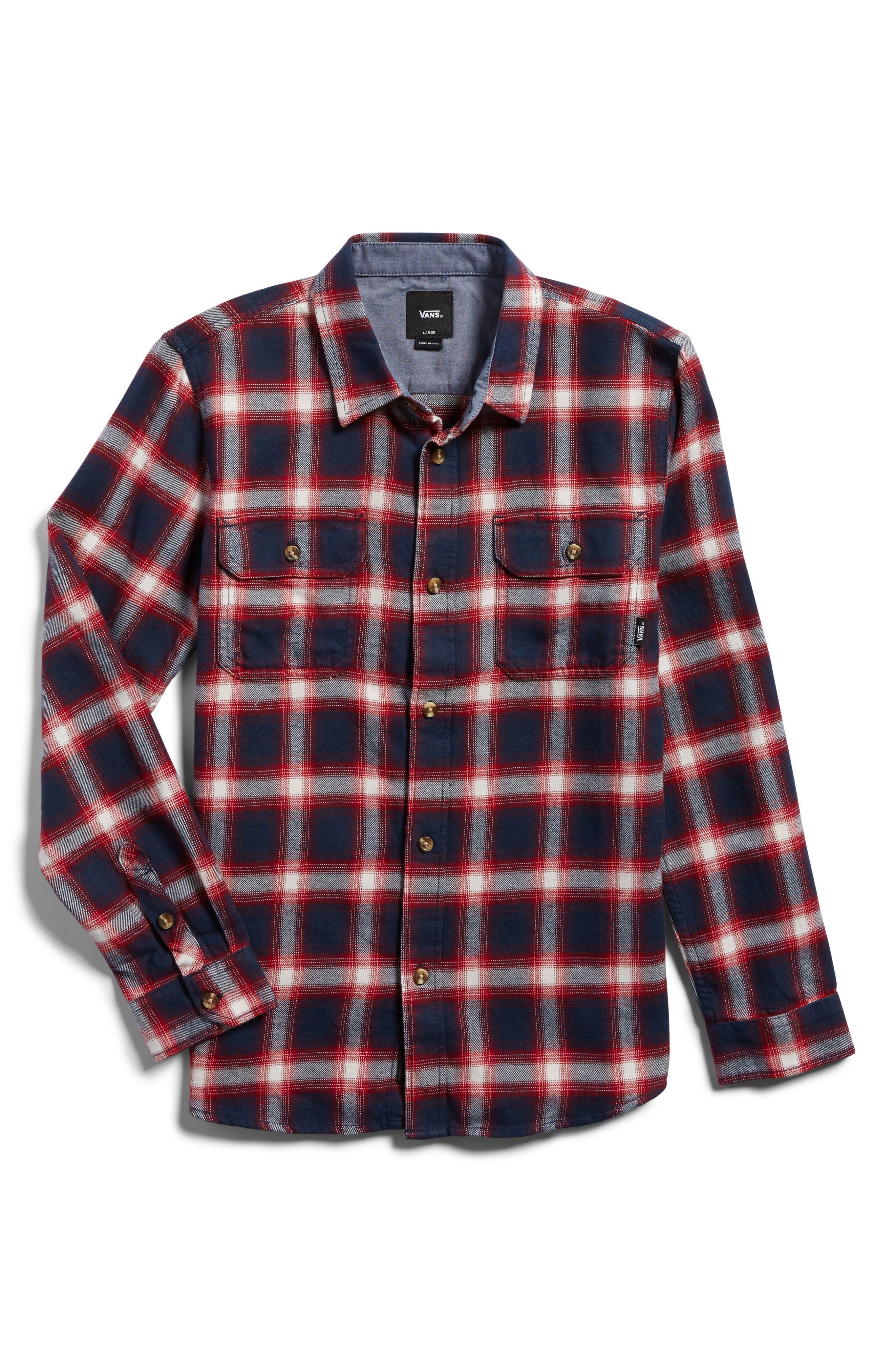Beechwood Plaid Flannel Shirt,                         Main,                         color, Dress Blues/ Chili Pepper