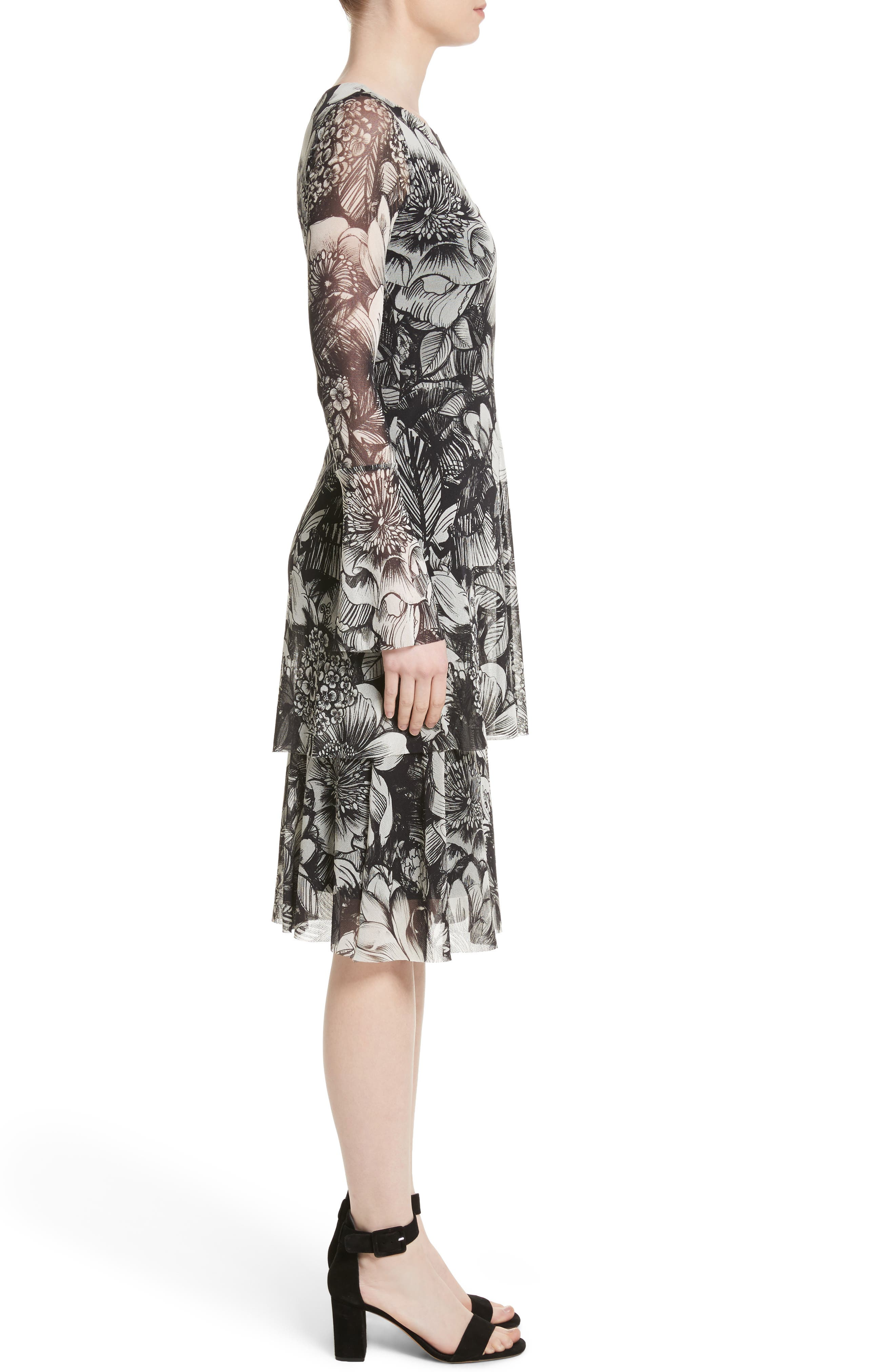 Ruffle Floral Print Tulle Dress,                             Alternate thumbnail 3, color,                             Nero