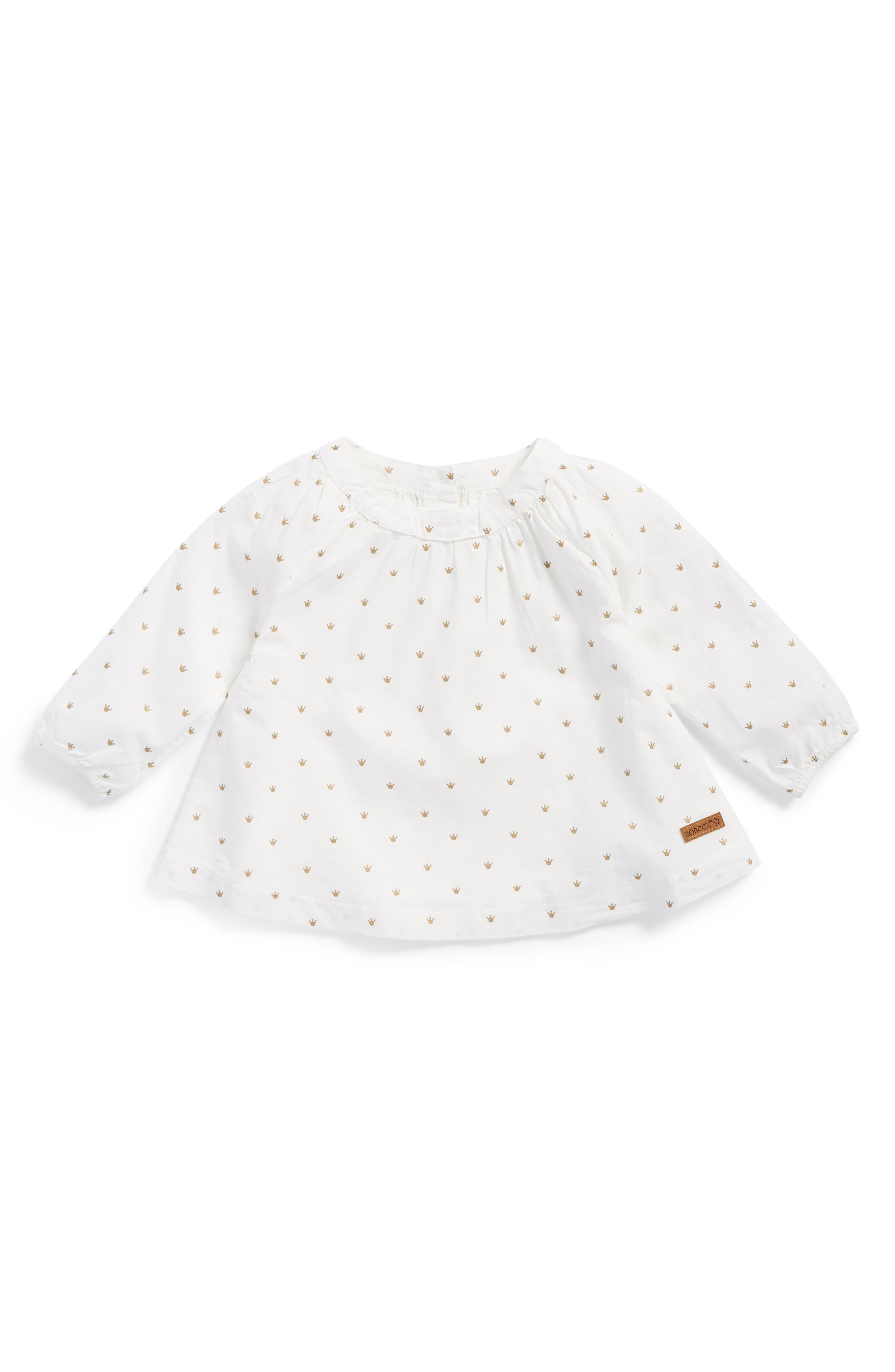 Main Image - Robeez® Crown Print Swing Top (Baby Girls)