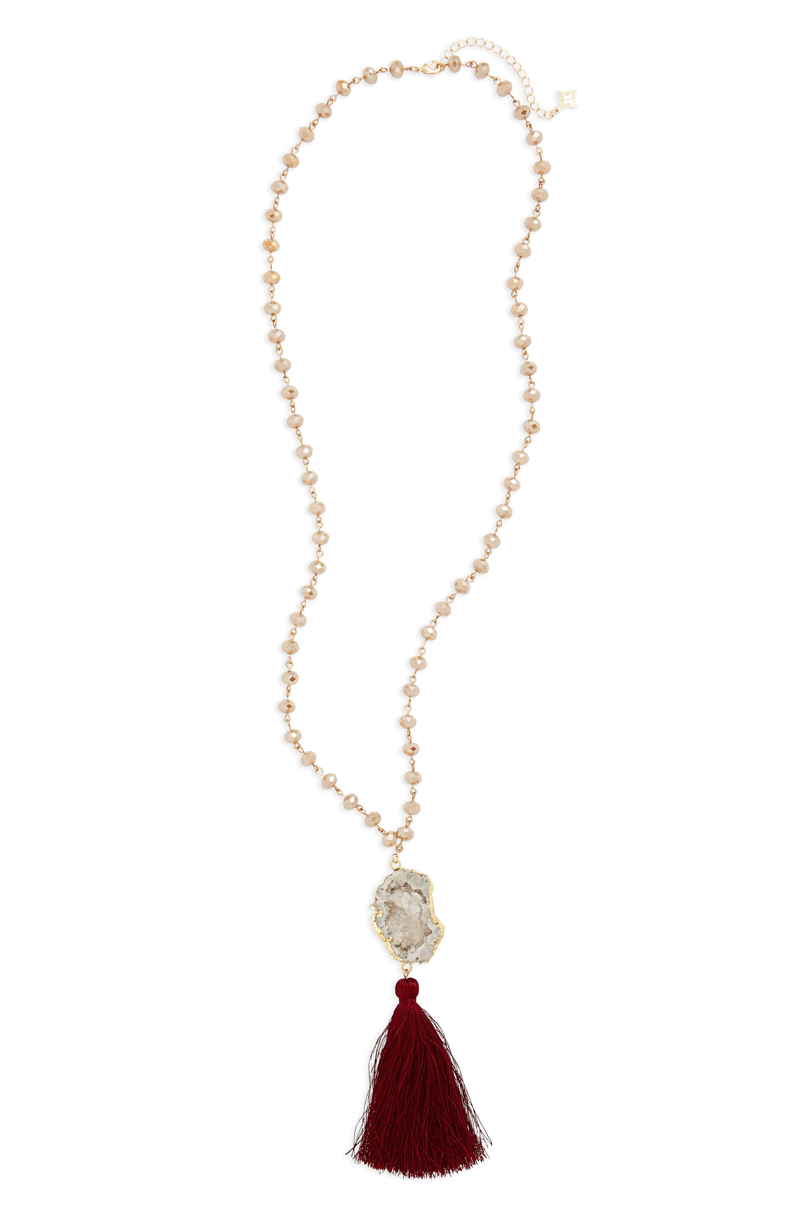 Quartz Pendant Necklace,                         Main,                         color, Multi