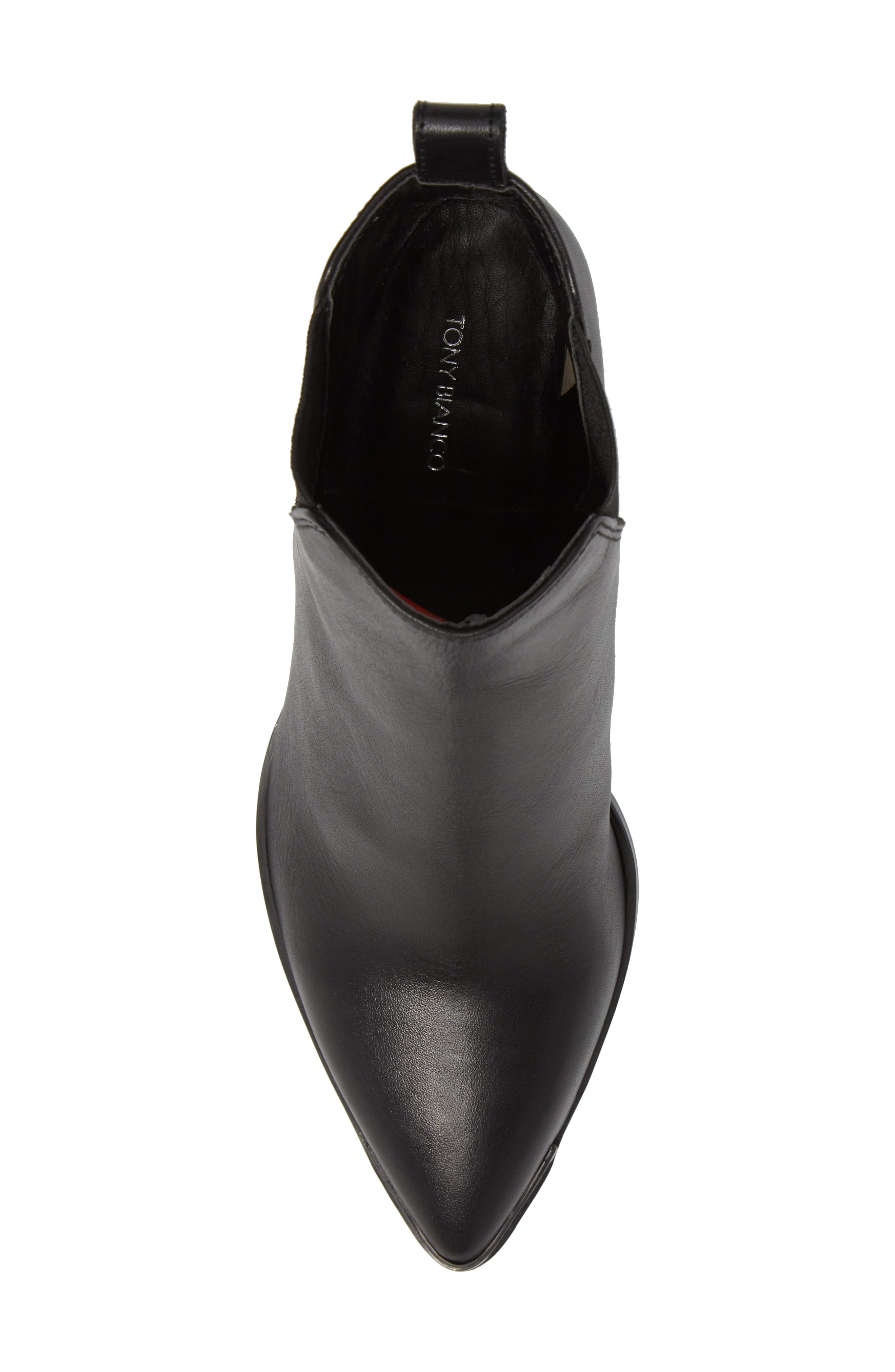 Bello Pointy Toe Bootie,                             Alternate thumbnail 5, color,                             Black Jetta Leather