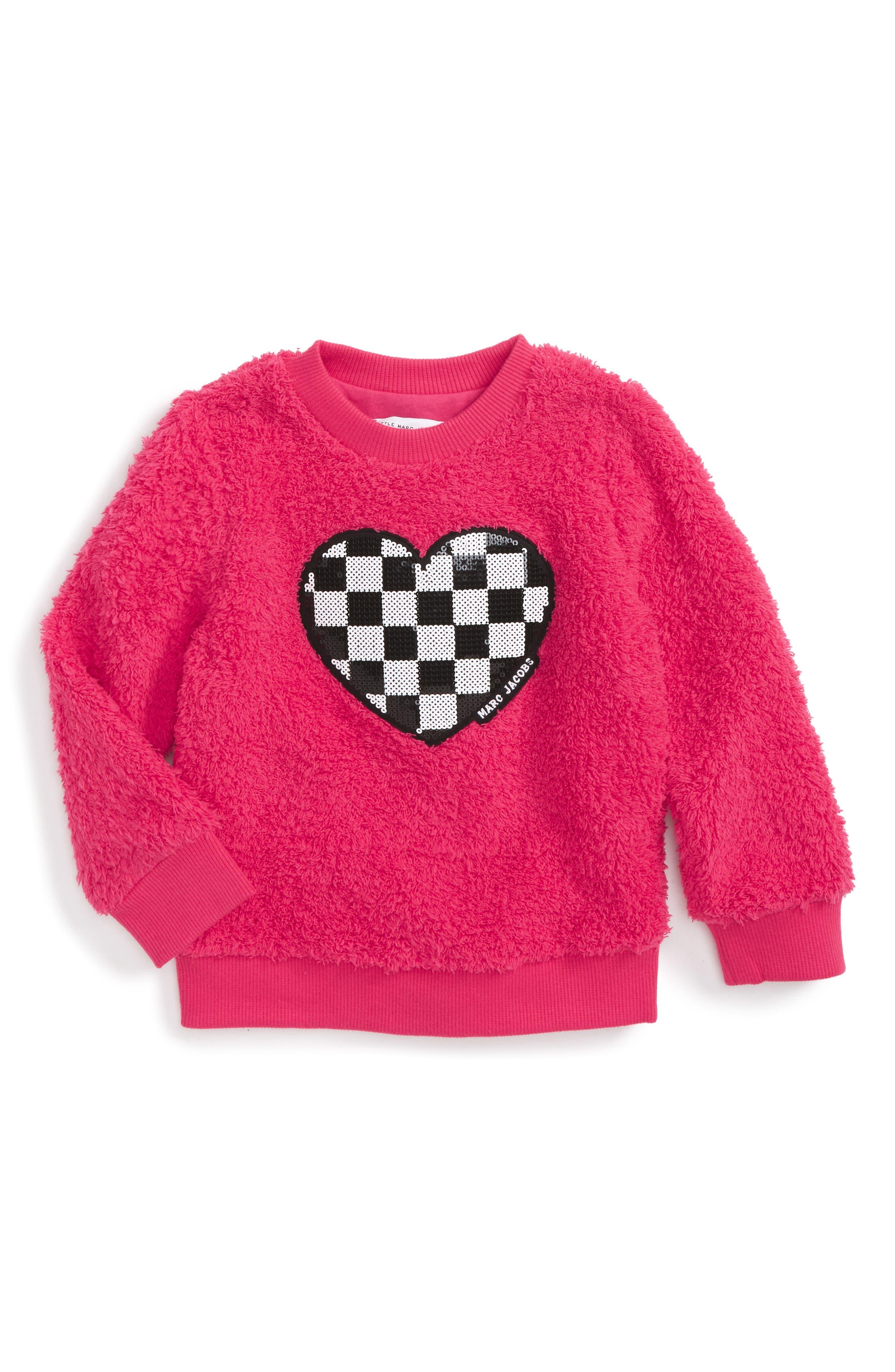 Sequin Heart Fuzzy Sweatshirt,                         Main,                         color, Bright Pink