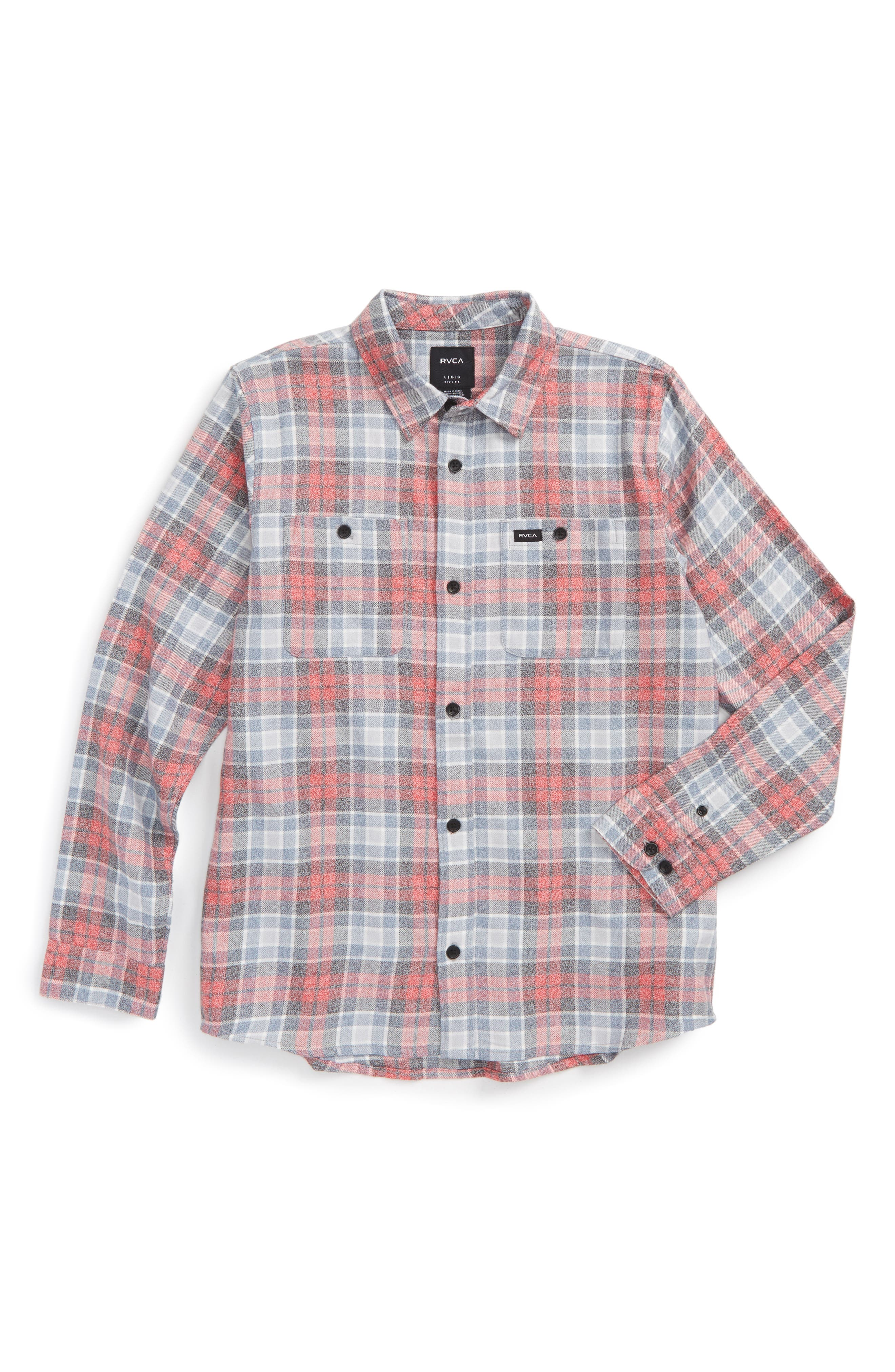 Main Image - RVCA Diffusion Plaid Shirt (Big Boys)