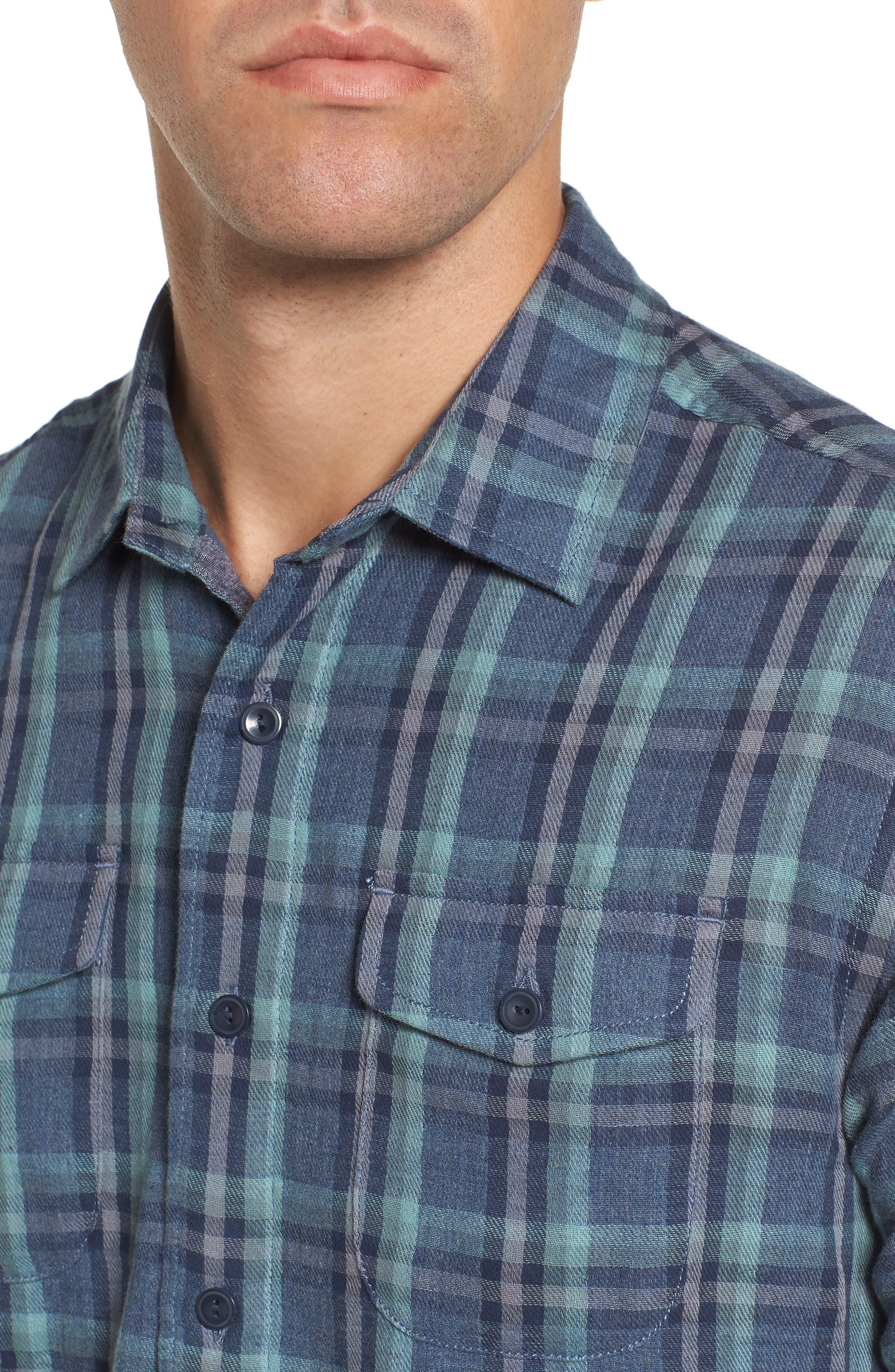 Smith Double Cloth Plaid Sport Shirt,                             Alternate thumbnail 4, color,                             Blue Navy Seafoam